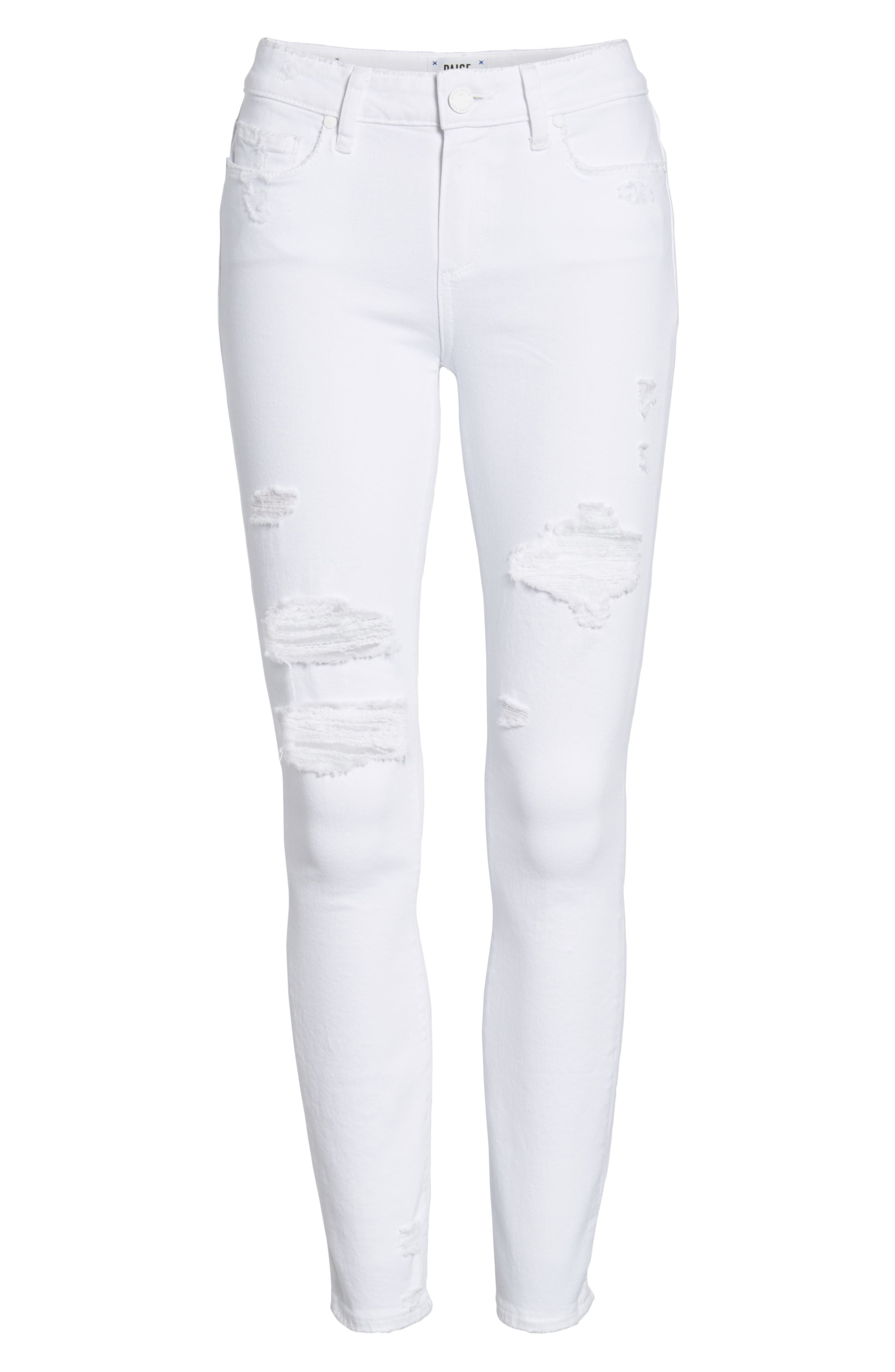 Skyline Ripped Ankle Skinny Jeans,                             Alternate thumbnail 7, color,                             100