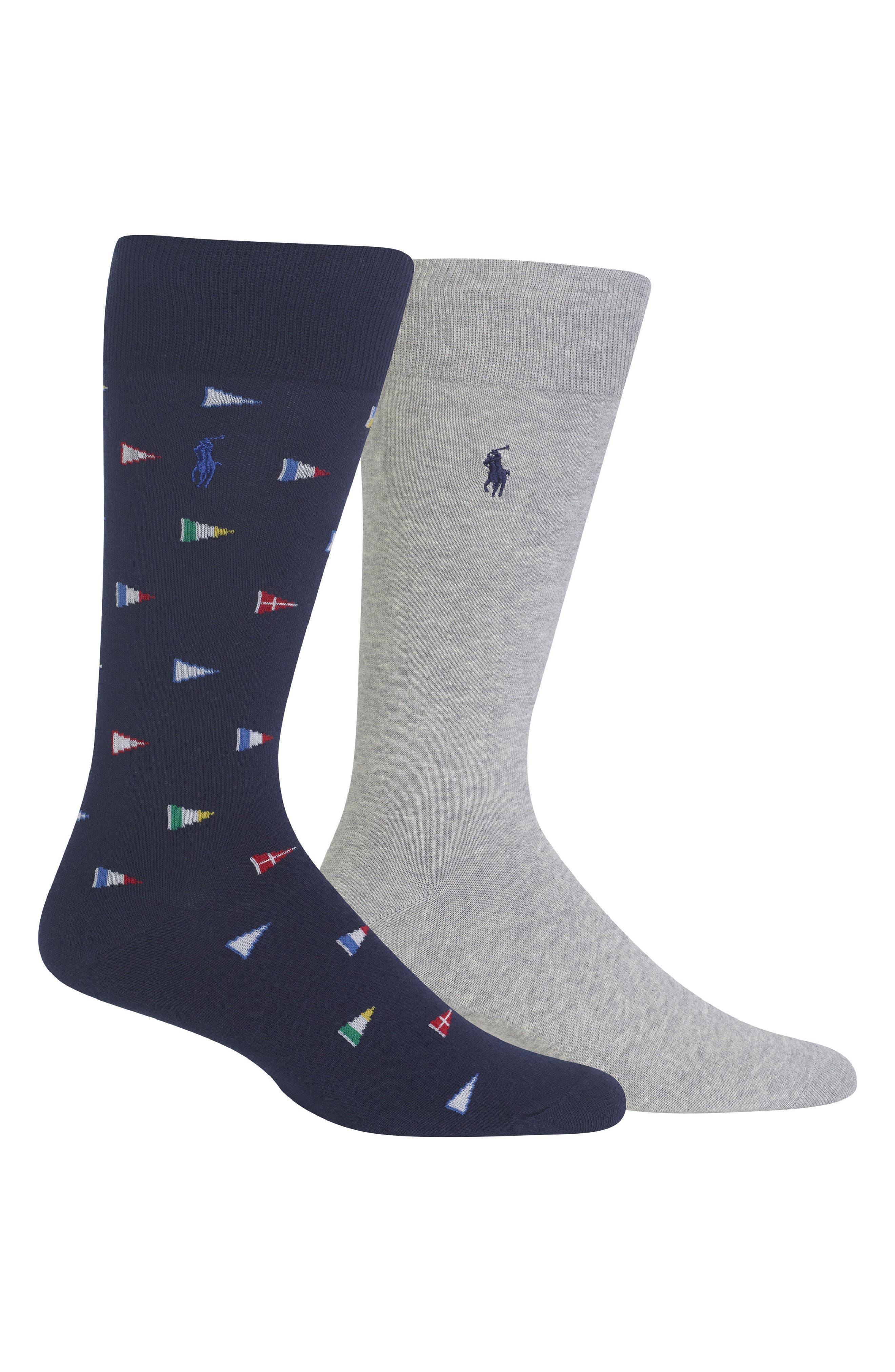 Ralph Lauren 2-Pack Flags Socks,                         Main,                         color,