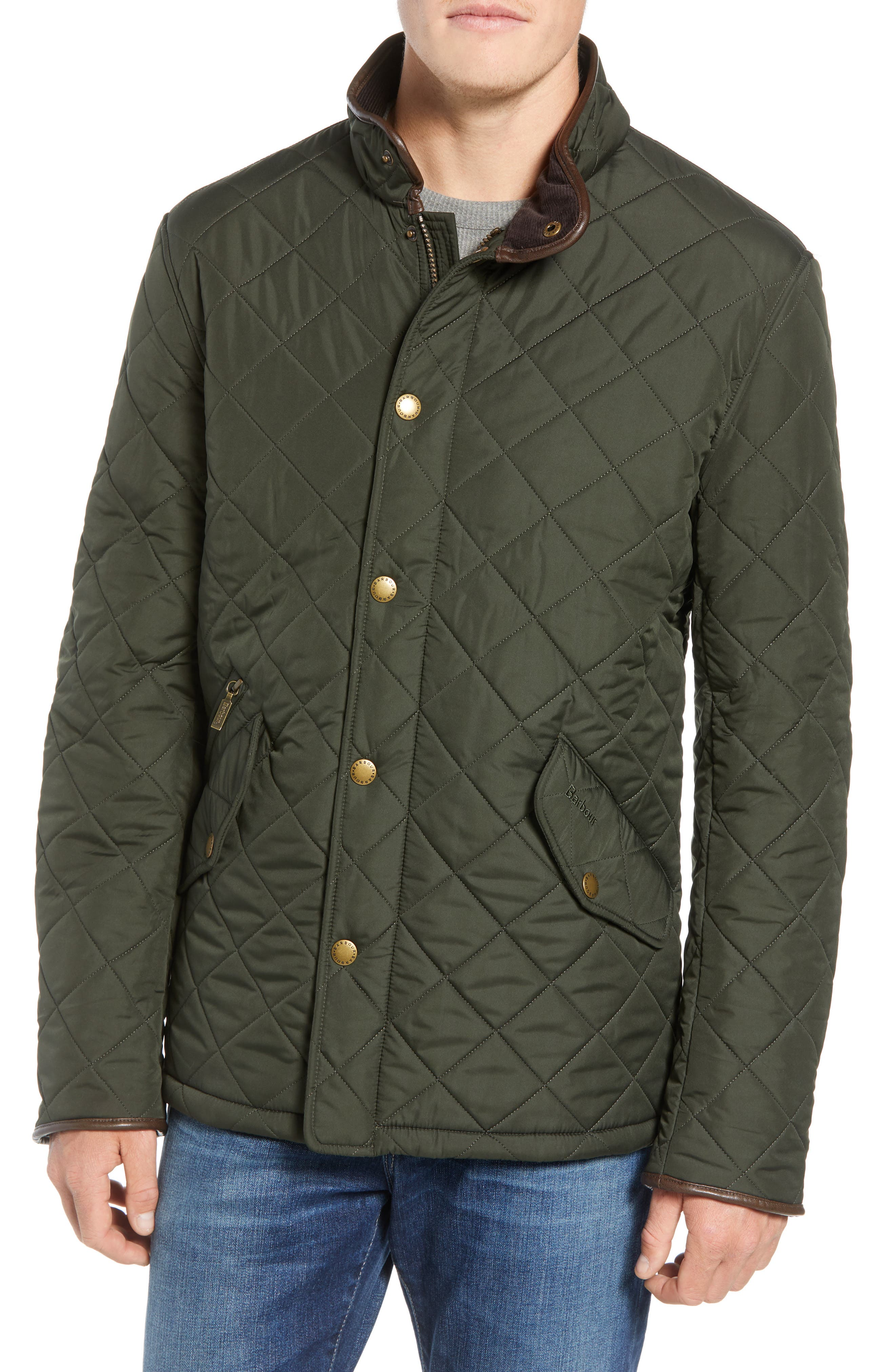 'Powell' Regular Fit Quilted Jacket,                             Alternate thumbnail 4, color,                             SAGE/ OLIVE