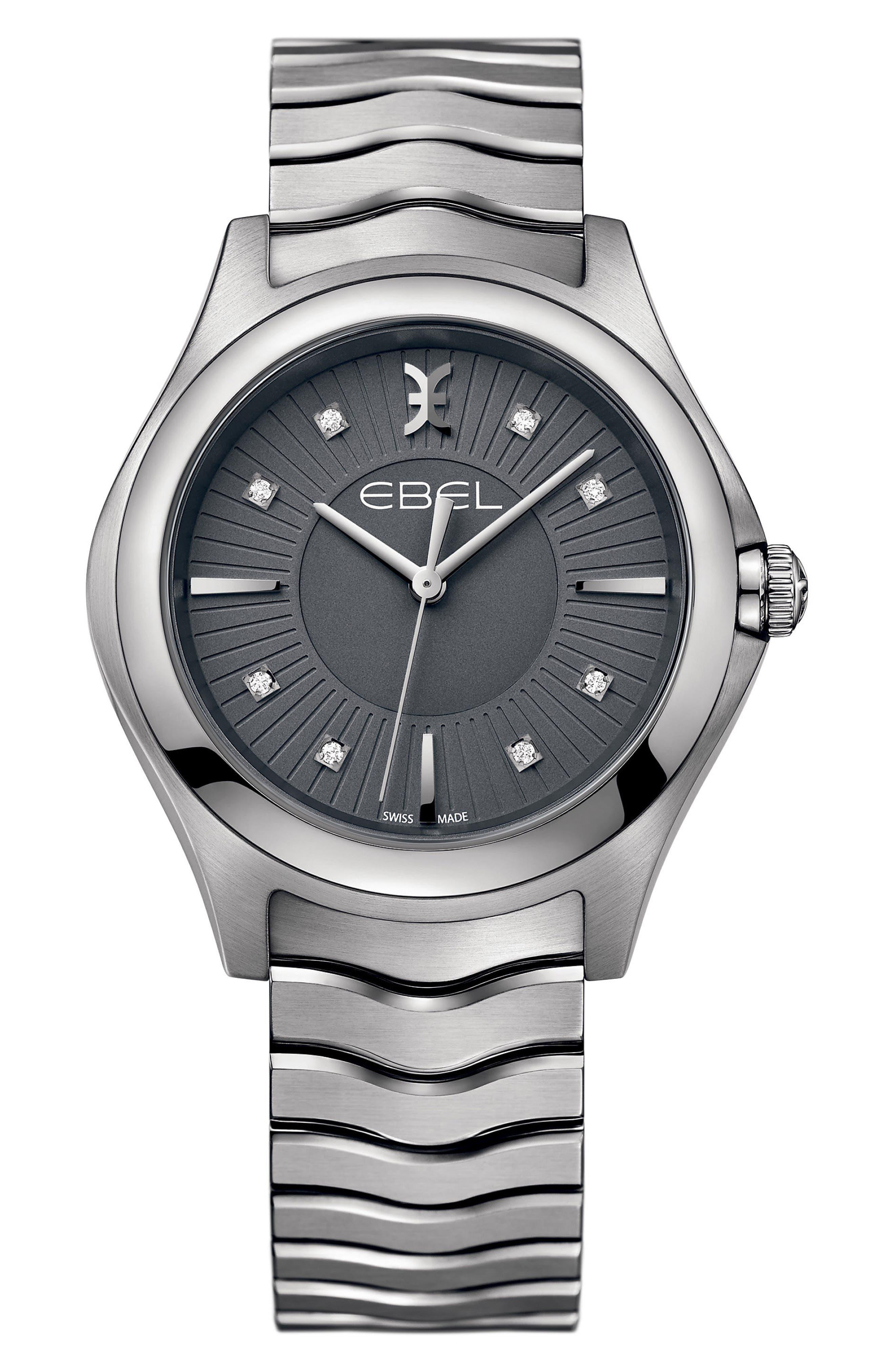 Wave Bracelet Watch, 35mm,                             Main thumbnail 1, color,                             SILVER/ GREY/ SILVER