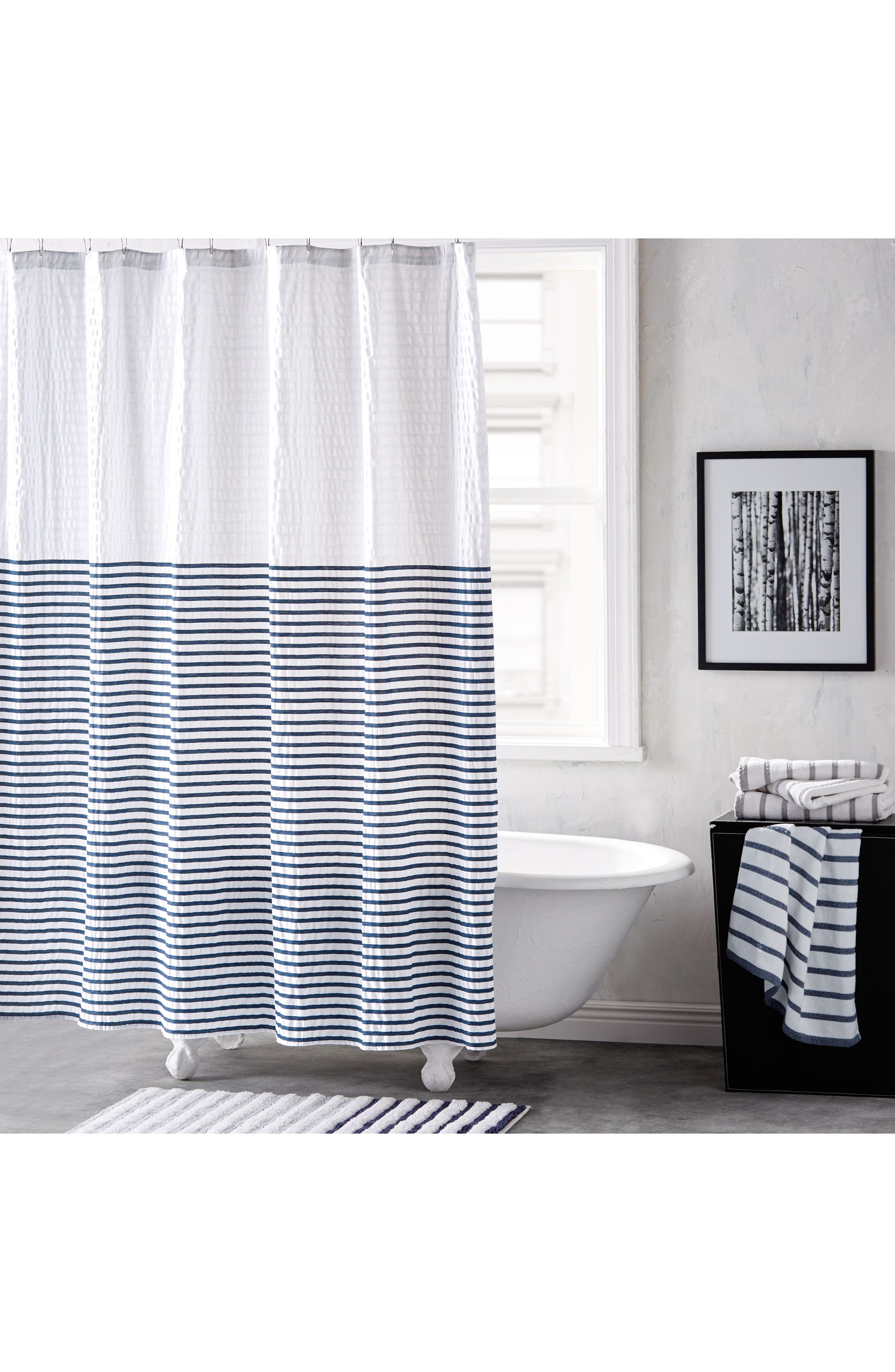 Parson Stripe Shower Curtain,                         Main,                         color, BLUE AIRE