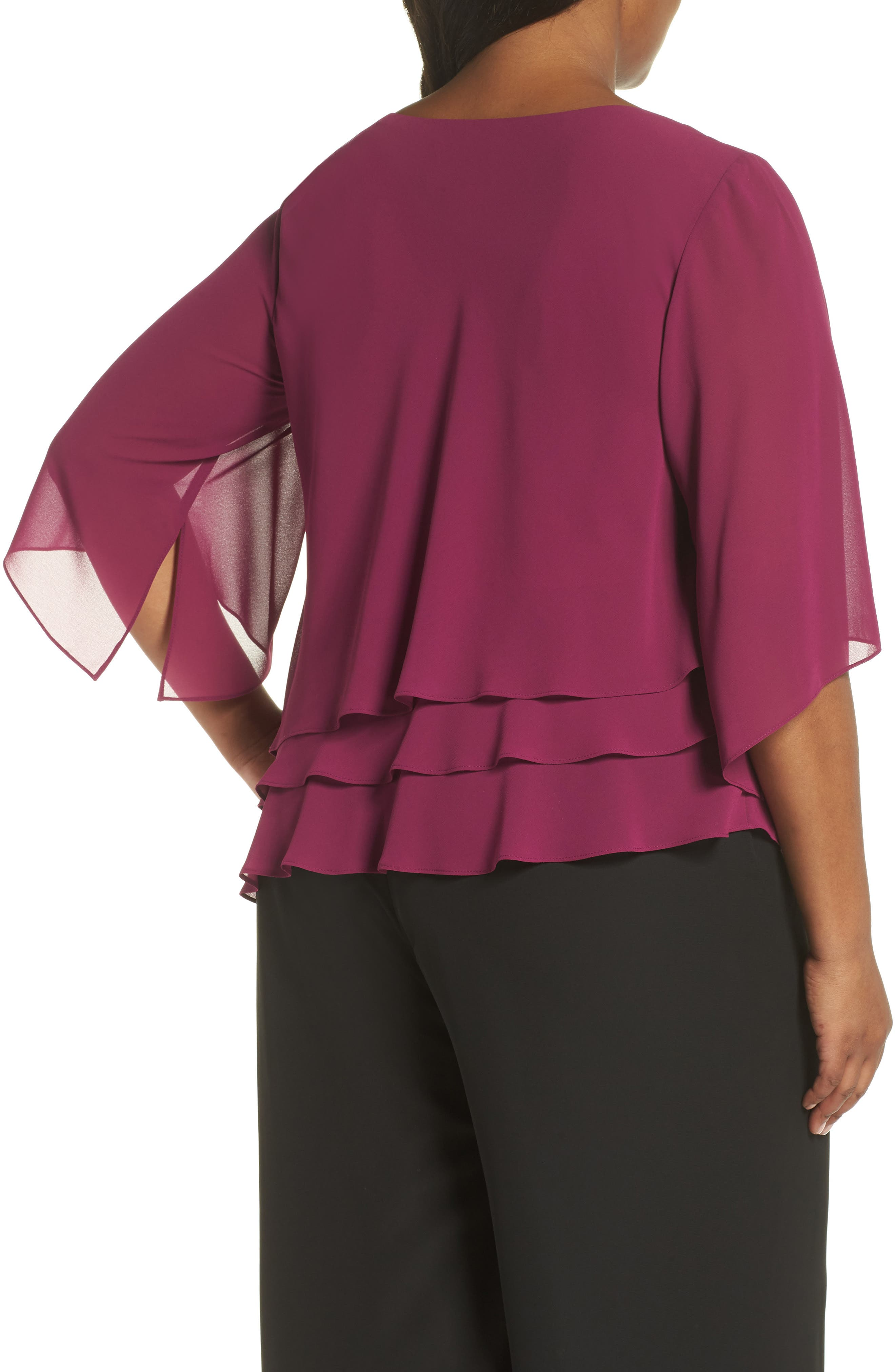 Embellished Tiered Chiffon Top,                             Alternate thumbnail 2, color,                             ALALEA
