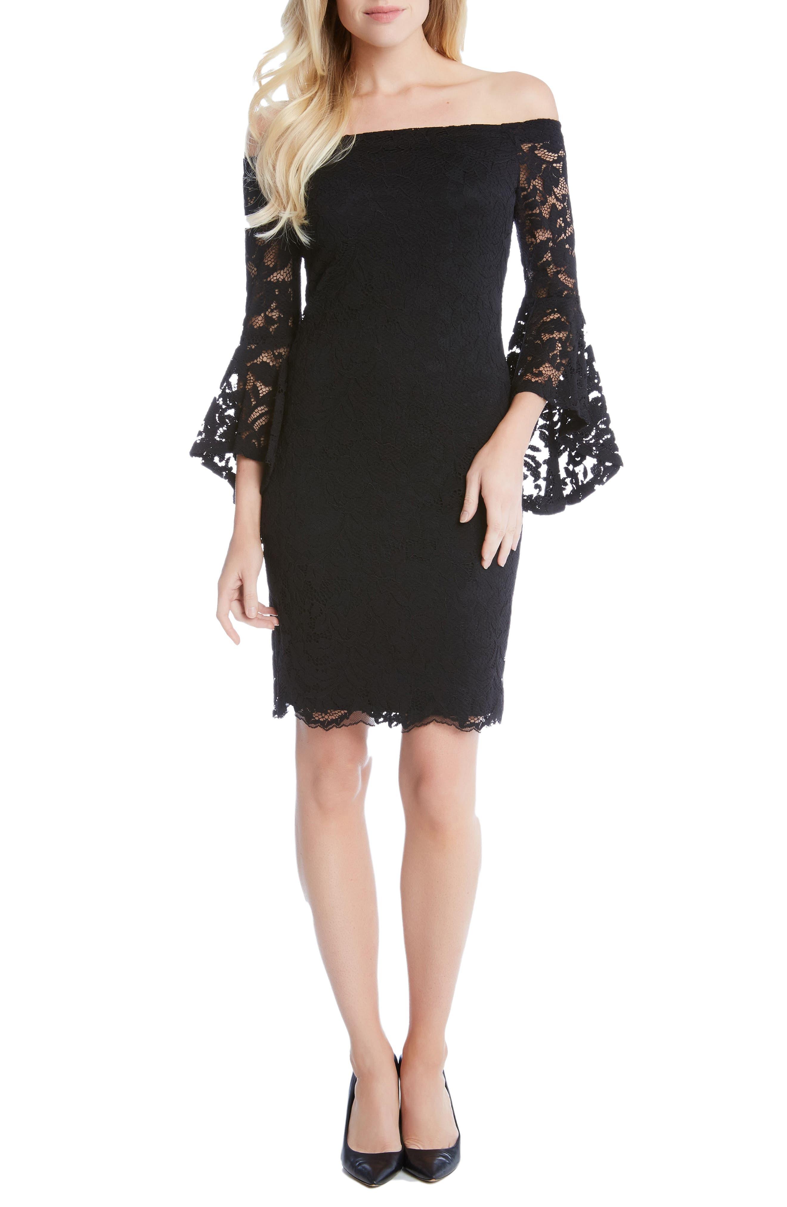 Samantha Lace Off the Shoulder Sheath Dress,                         Main,                         color, 002