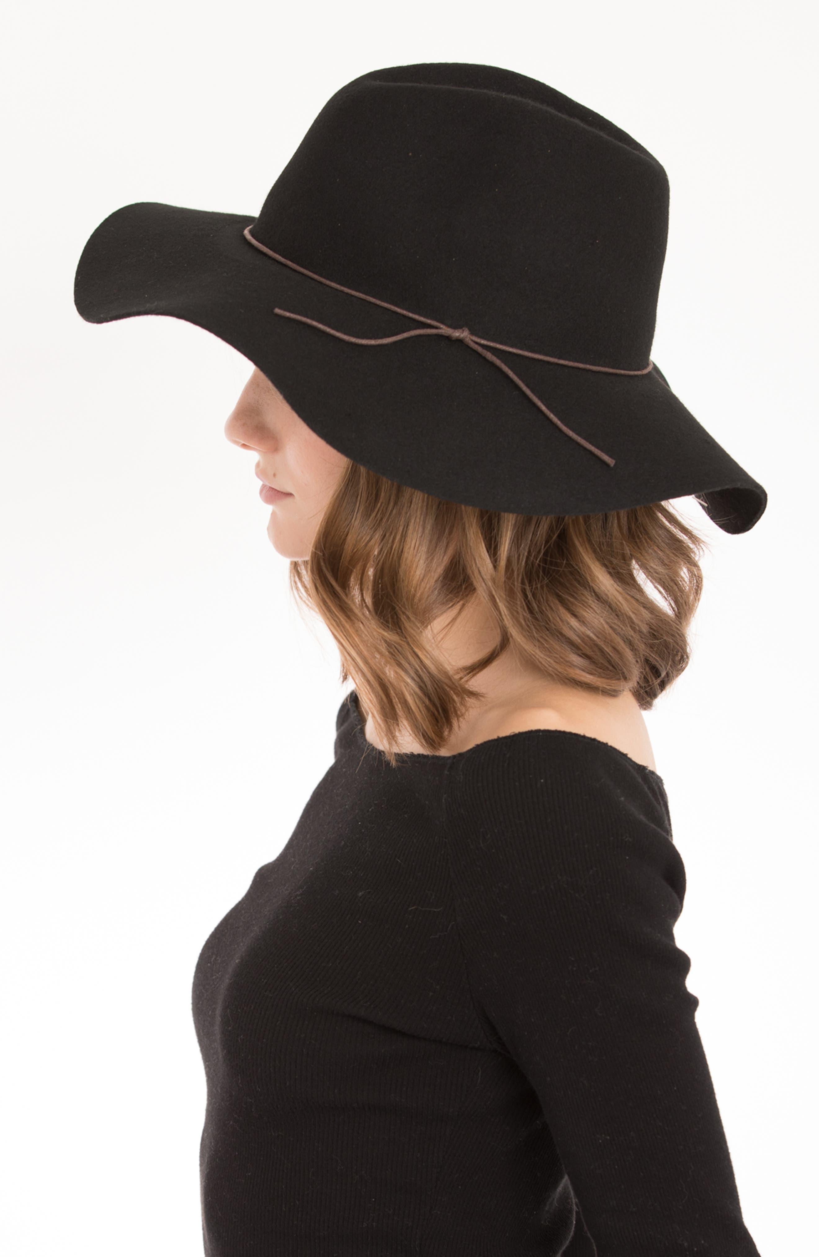 Zima Felted Wool Hat,                             Alternate thumbnail 3, color,                             BLACK