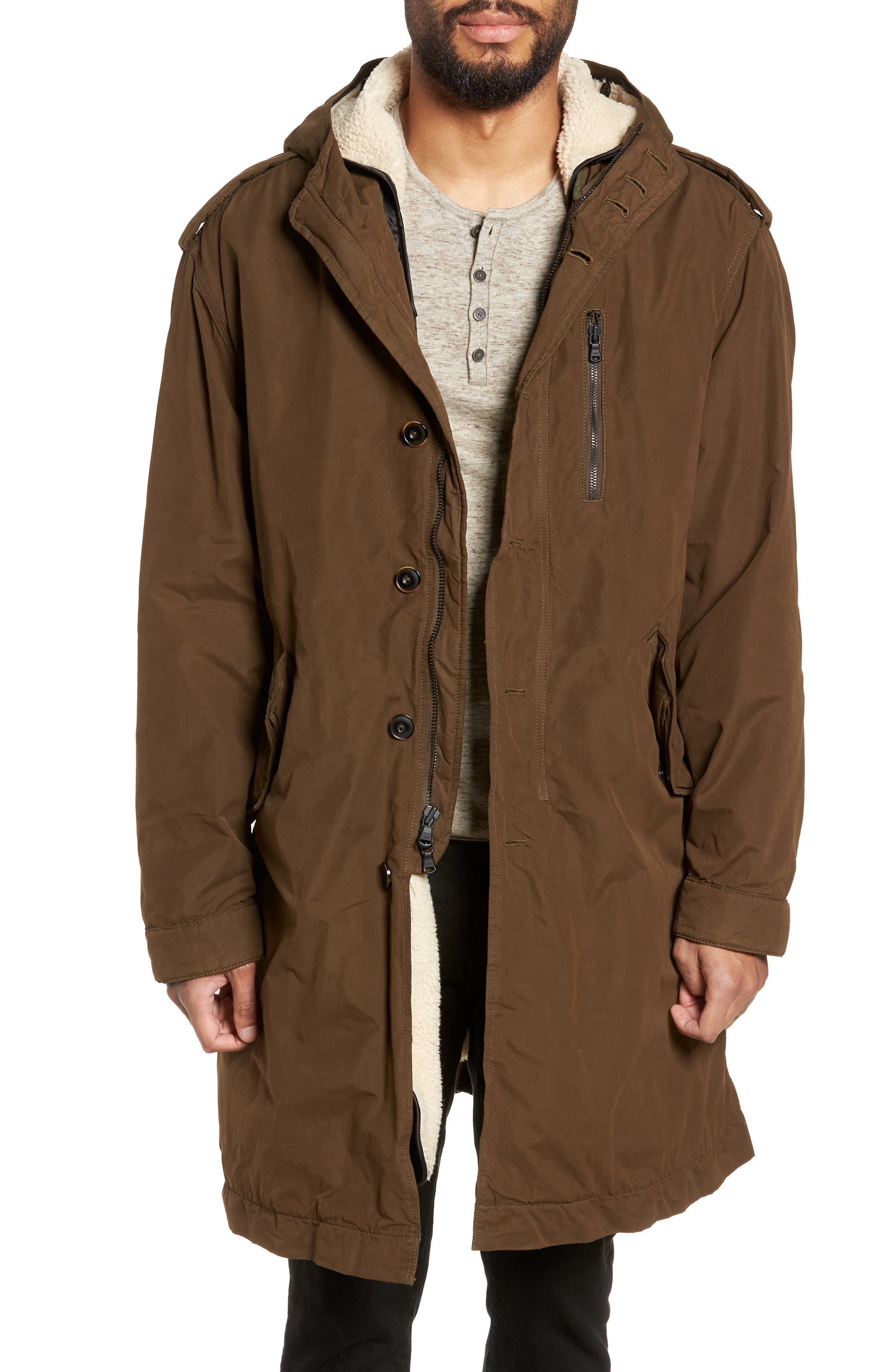 Removable Faux Shearling Anorak,                         Main,                         color, UMBER