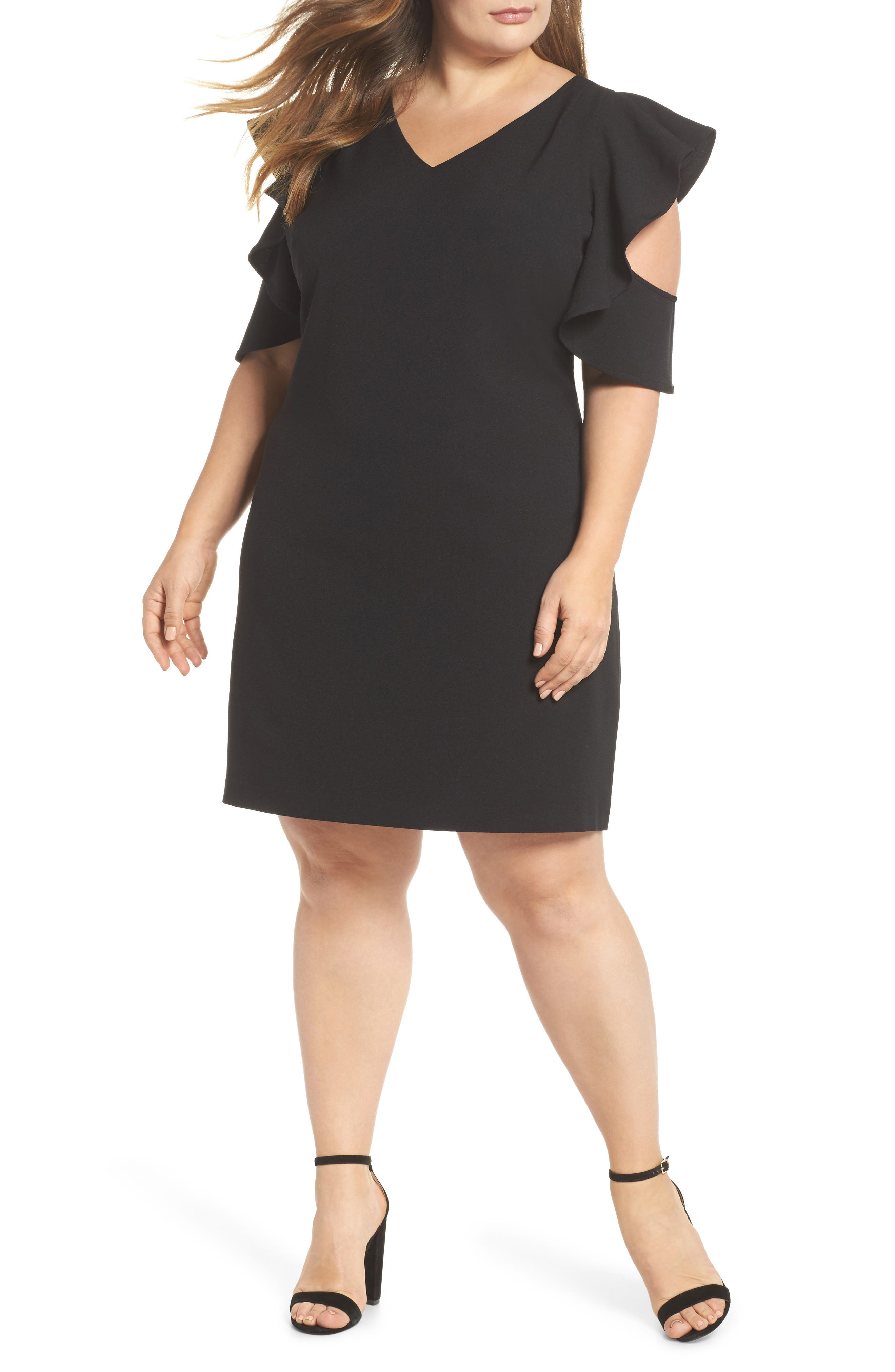 Ruffle Cold Shoulder Shift Dress,                         Main,                         color, 001