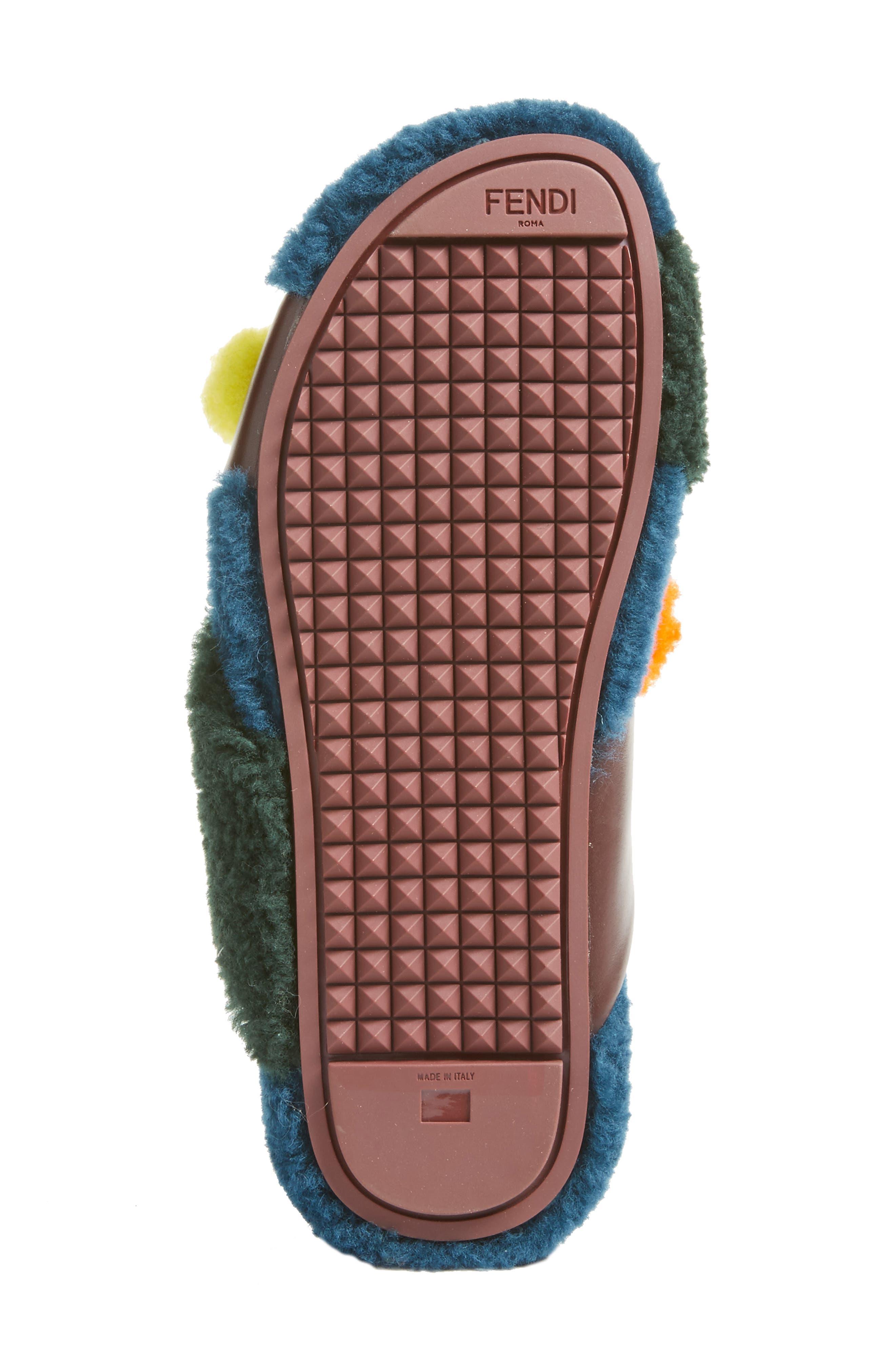 Genuine Shearling Slide Sandal,                             Alternate thumbnail 5, color,                             002