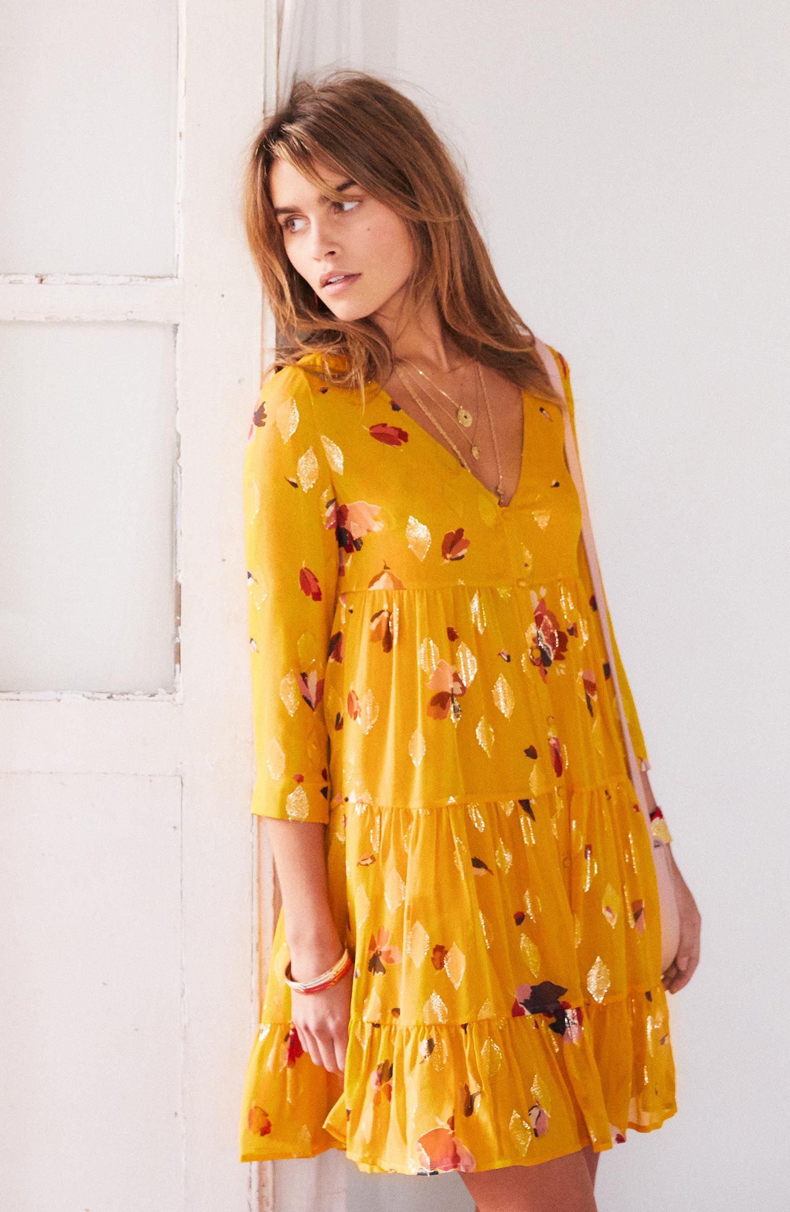 Aure Silk A-Line Dress,                             Alternate thumbnail 14, color,
