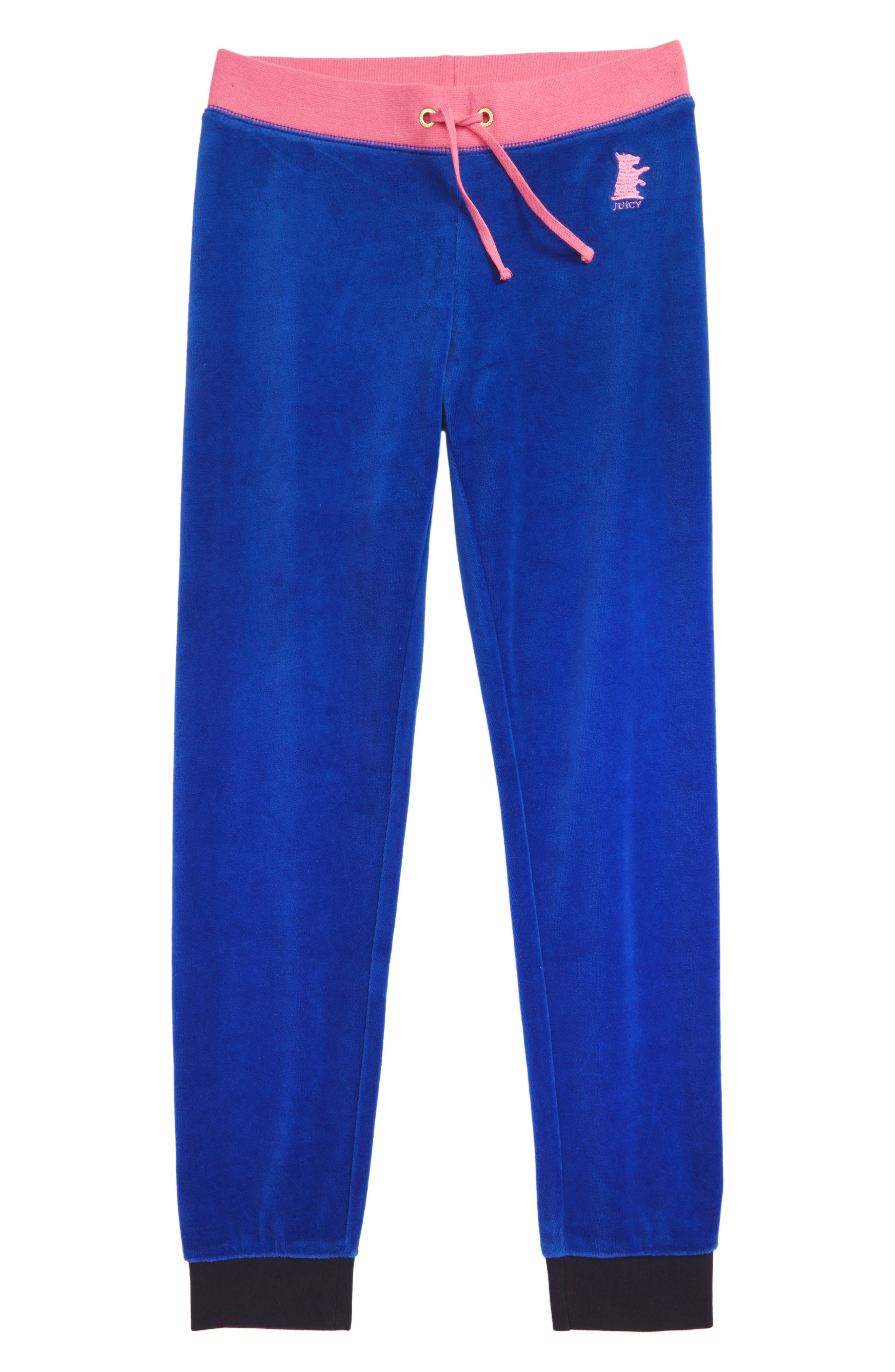 Zuma Velour Pants,                         Main,                         color, BLUE NIGHT