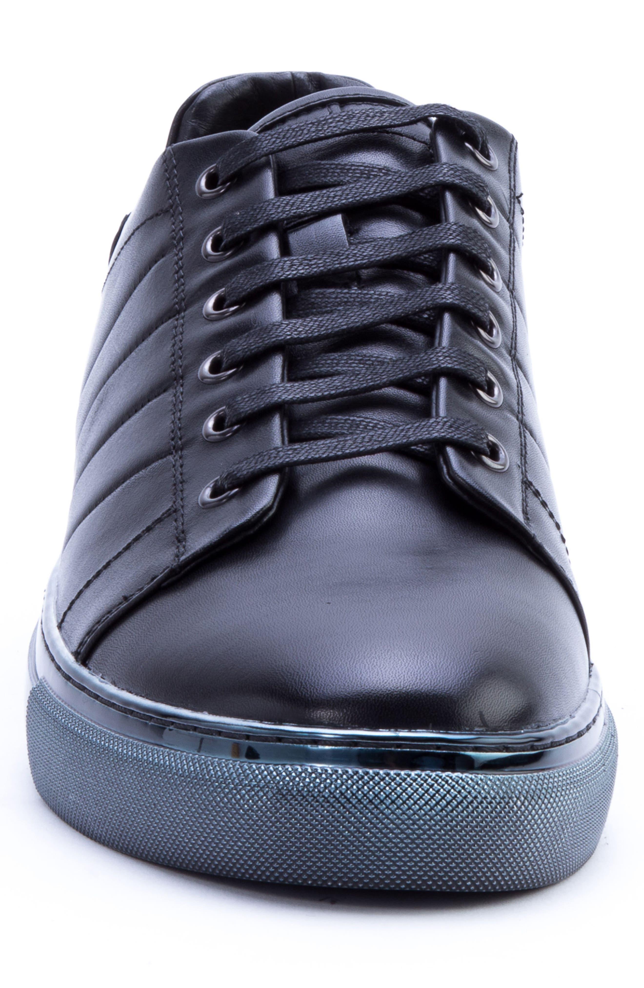 Badgley Mischka Brando Sneaker,                             Alternate thumbnail 4, color,                             BLACK LEATHER