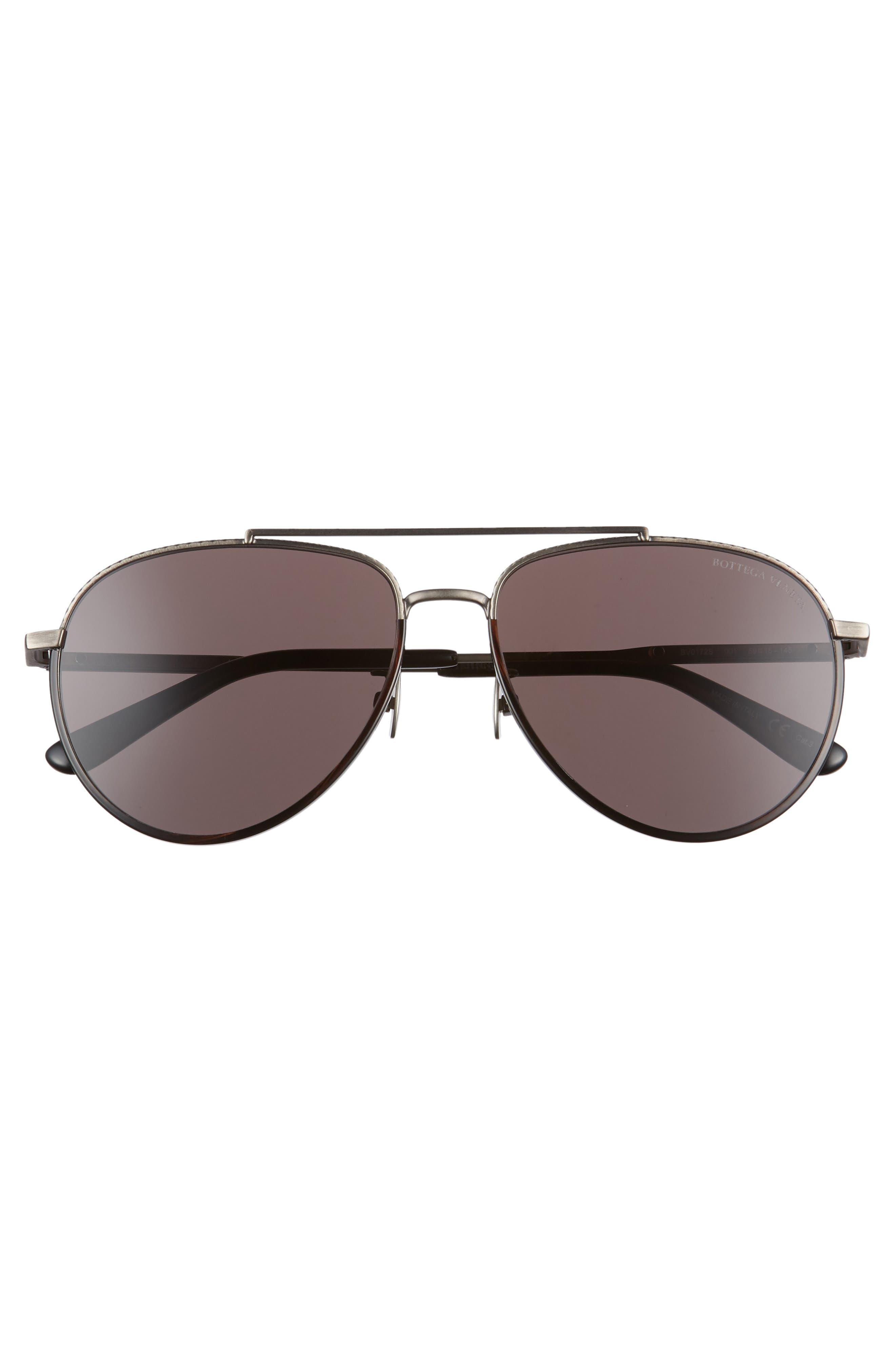 59mm Aviator Sunglasses,                             Alternate thumbnail 3, color,                             SILVER/ BLACK