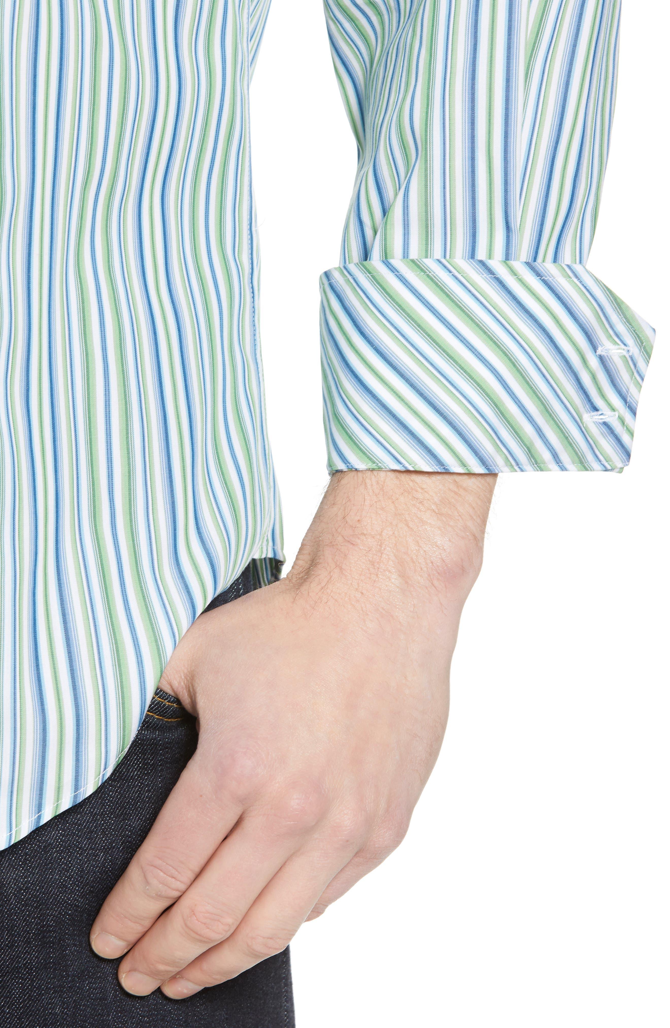 Regular Fit Stripe Sport Shirt,                             Alternate thumbnail 4, color,                             300