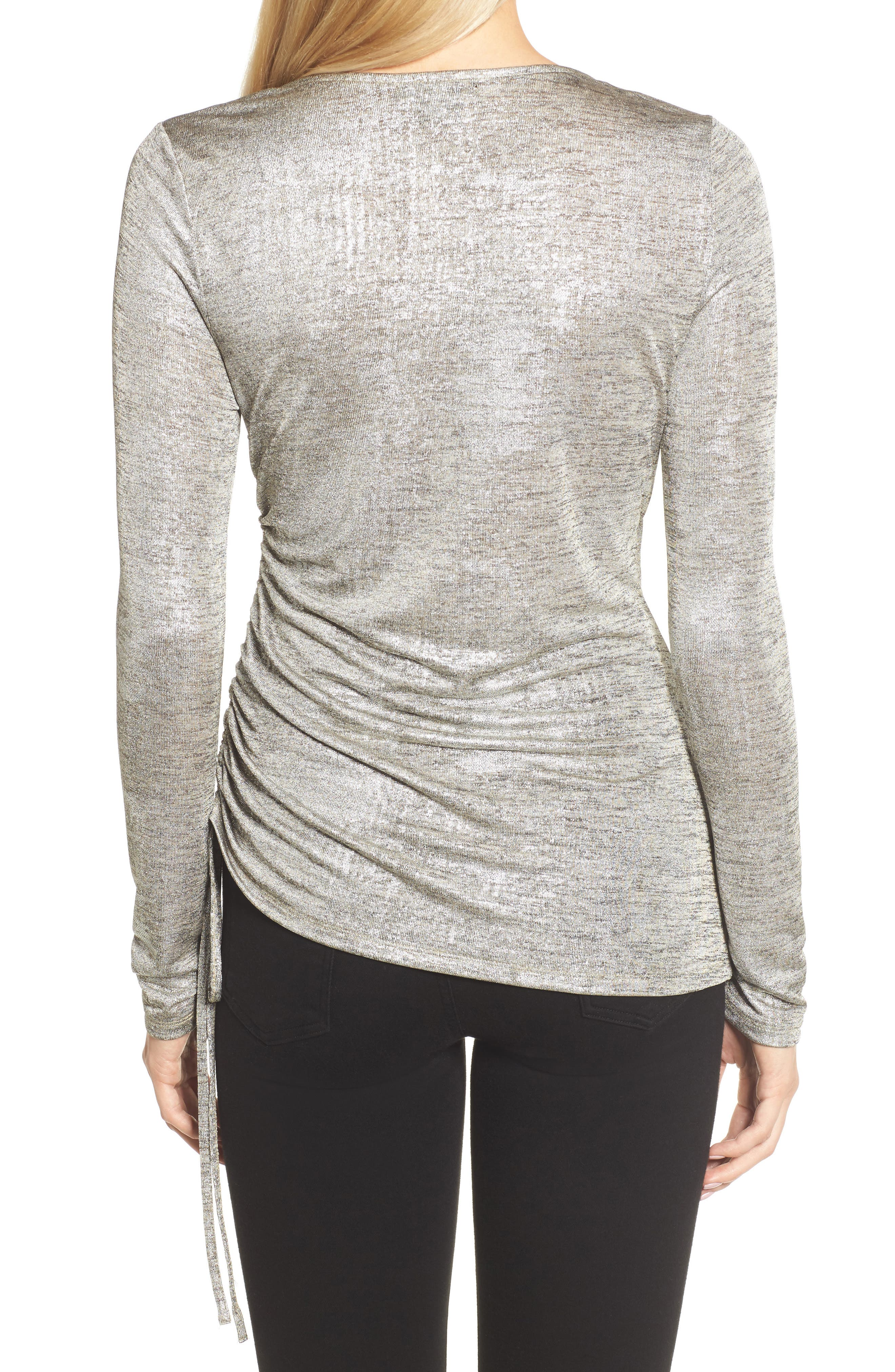 Ruched Metallic Top,                             Alternate thumbnail 2, color,                             040