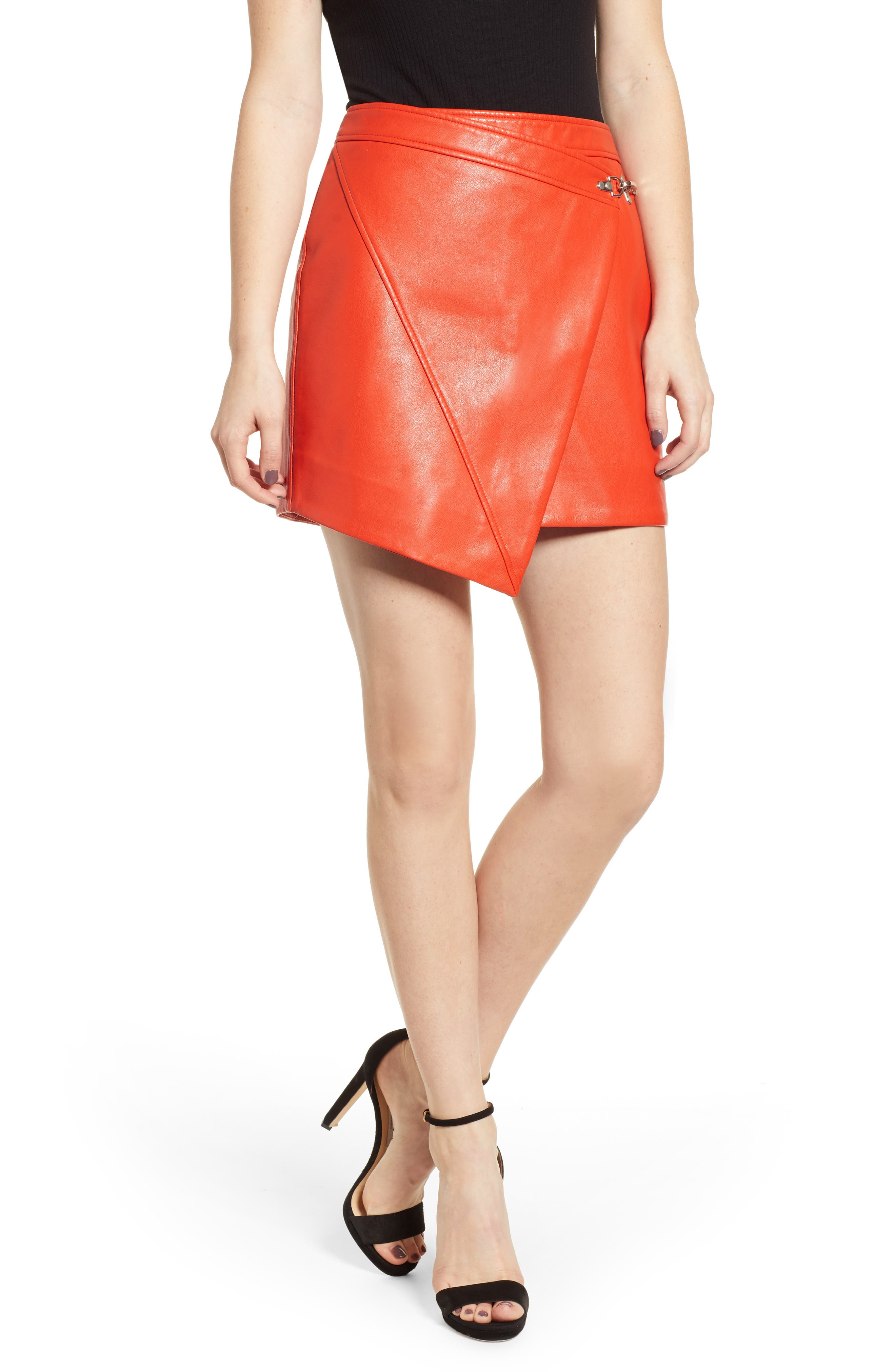 BLANKNYC Asymmetrical Latch Detail Vegan Leather Miniskirt, Main, color, SAFE WORD