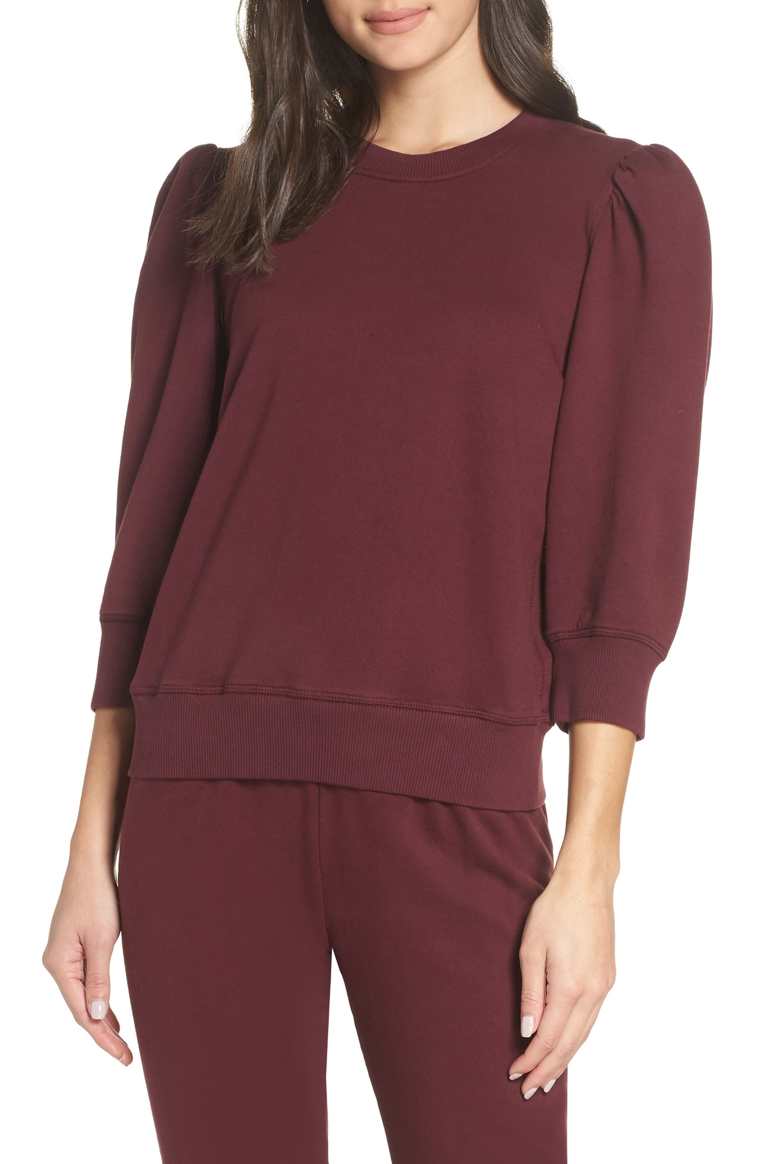 DAVID LERNER Leg Of Mutton Sleeve Pullover in Bordeaux