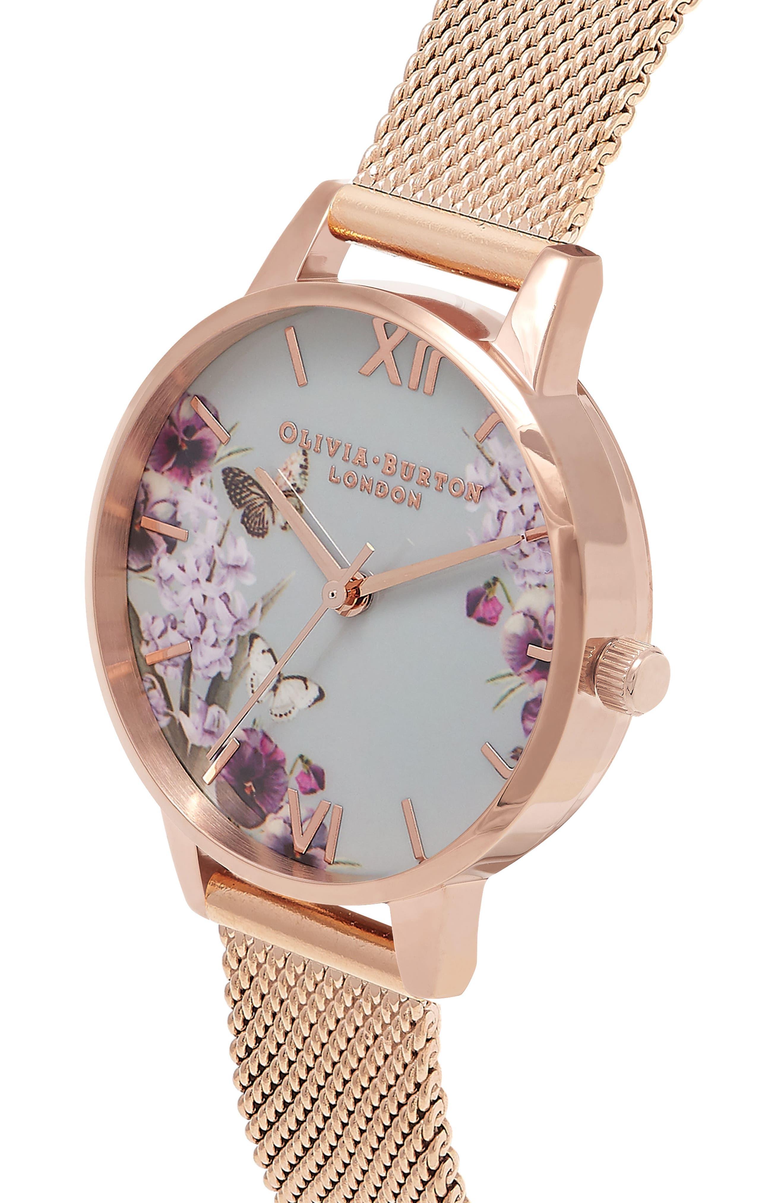 OLIVIA BURTON,                             Enchanted Garden Mesh Strap Watch, 30mm,                             Alternate thumbnail 5, color,                             ROSE GOLD/ FLORAL/ ROSE GOLD