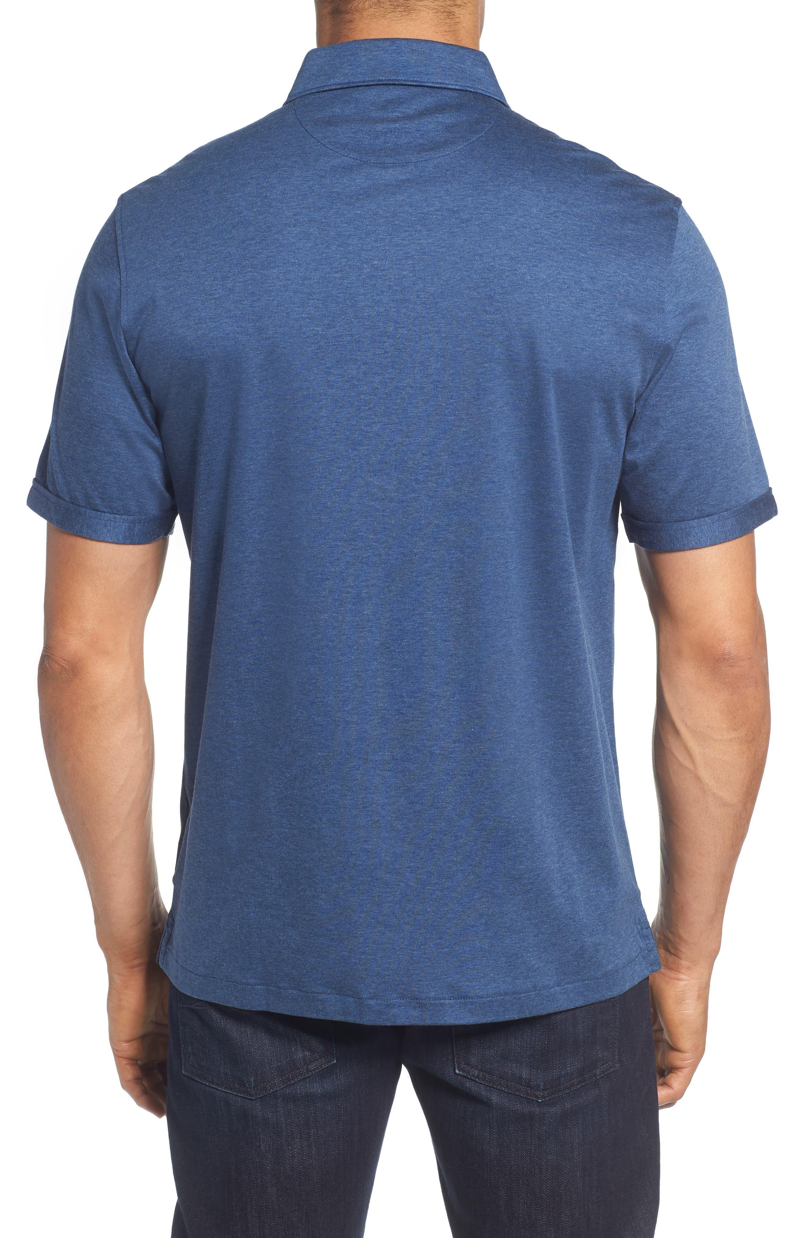 Regular Fit Heather Knit Sport Shirt,                             Alternate thumbnail 2, color,                             NAVY