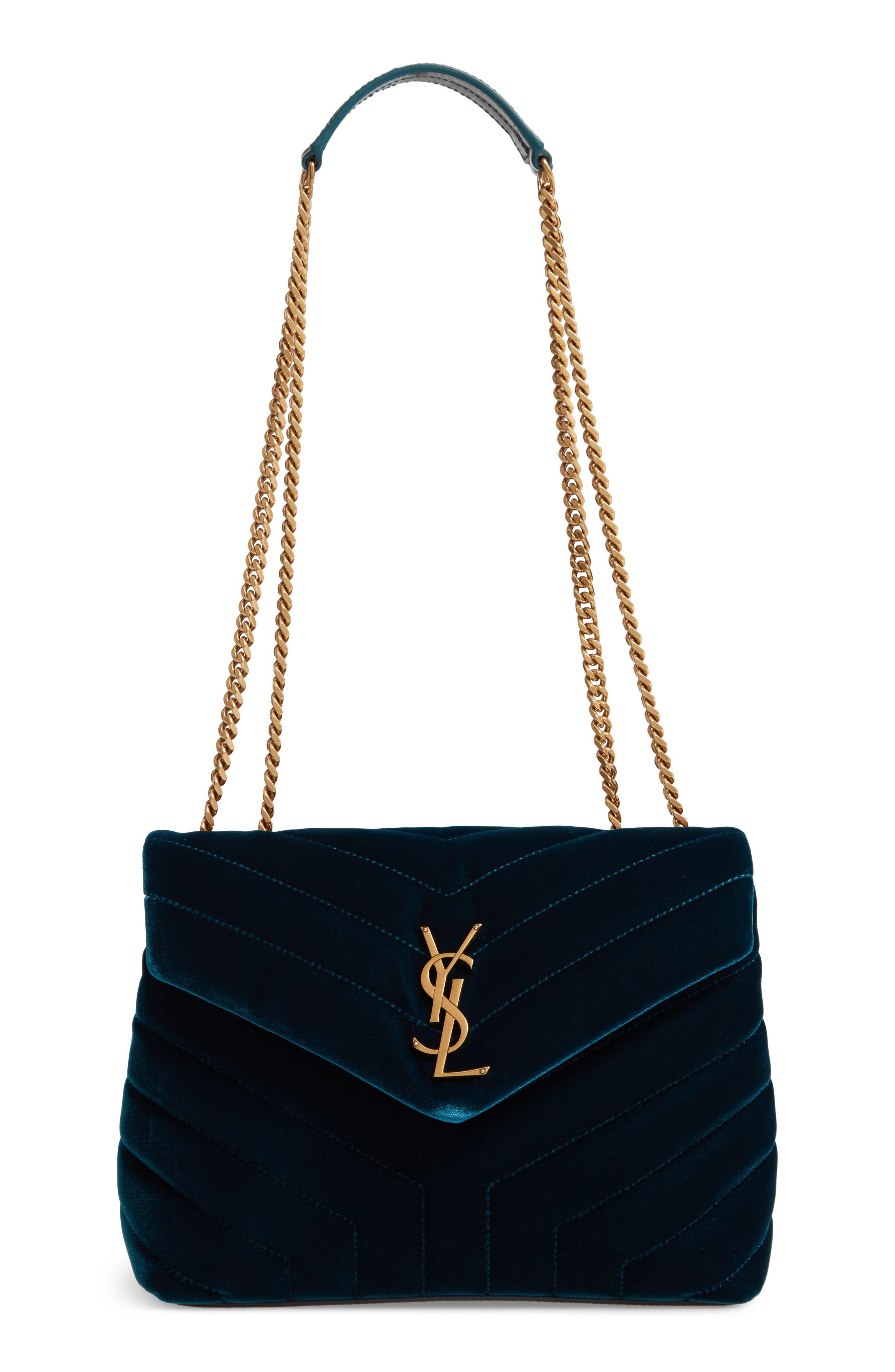SAINT LAURENT Small Loulou Matelassé Velour Shoulder Bag, Main, color, DARK DEEP SEA/ DARK DEEP SEA