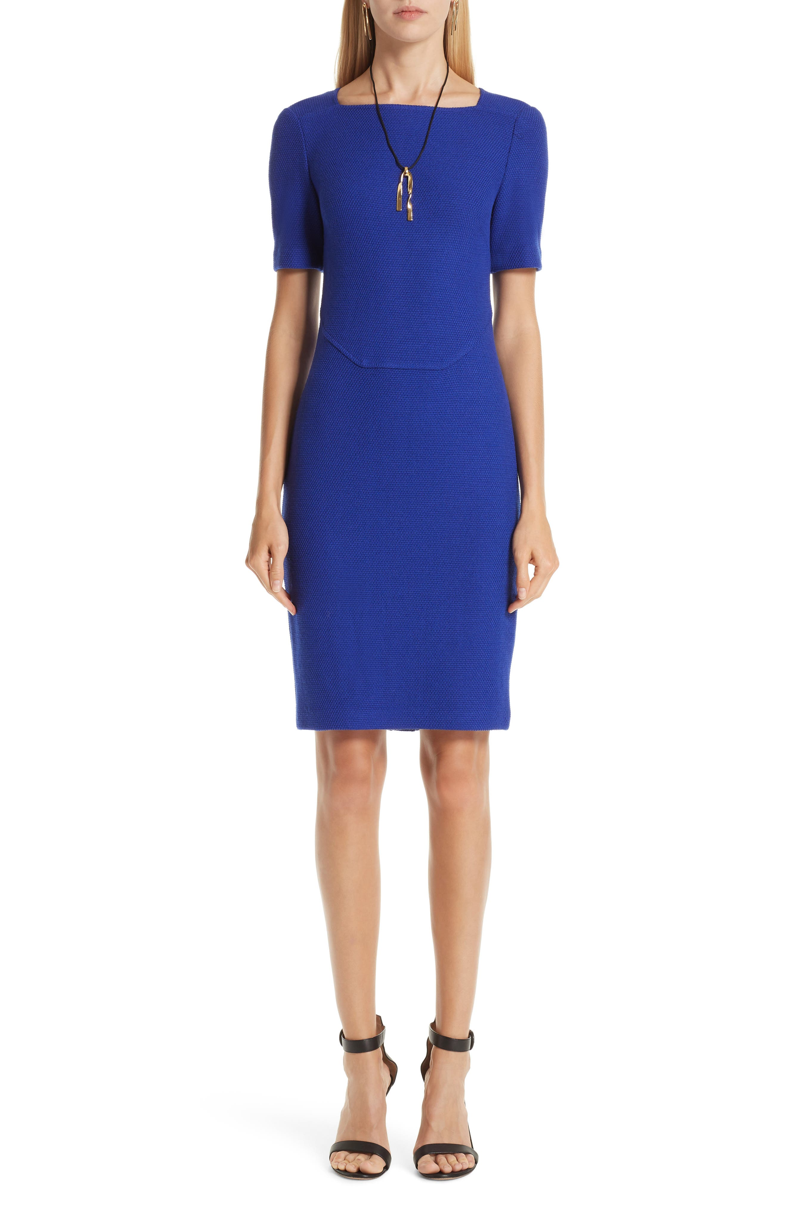 Irina Square-Neck Short-Sleeve Boucle-Knit Sheath Dress in Sapphire