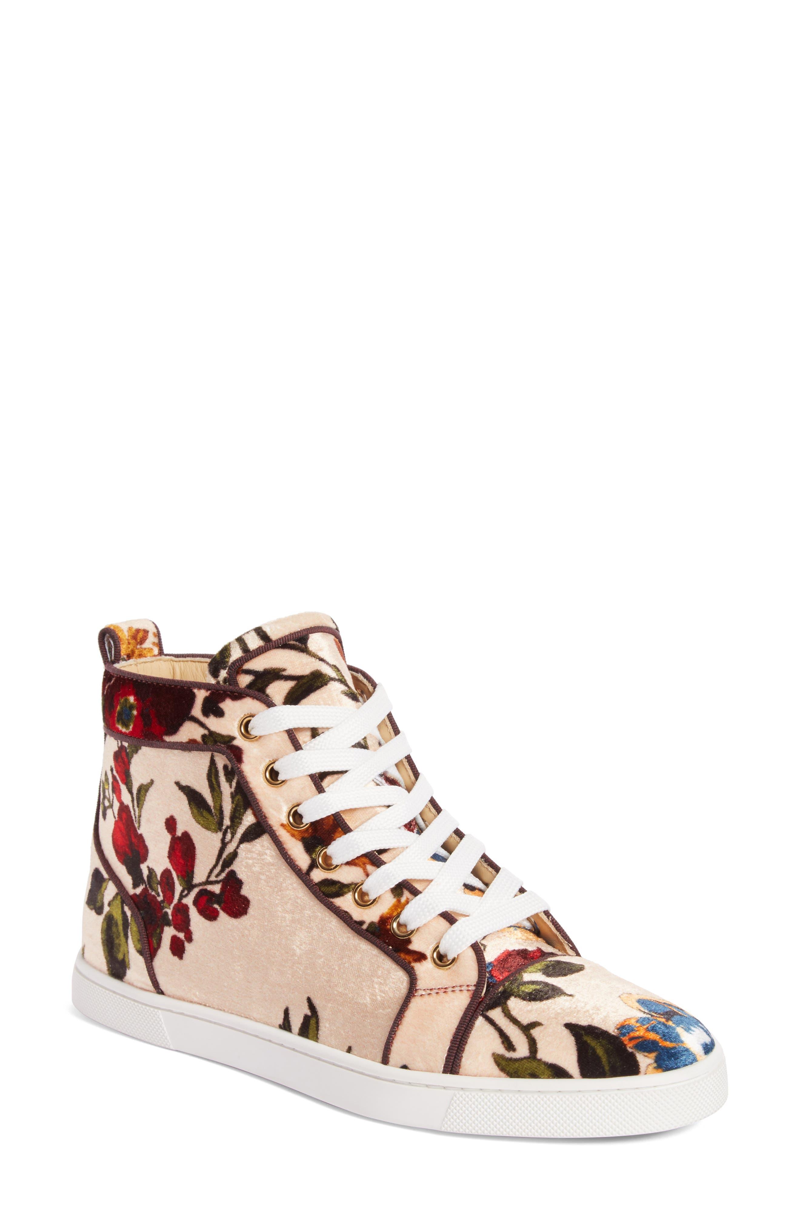 CHRISTIAN LOUBOUTIN,                             Bip Bip Floral Sneaker,                             Main thumbnail 1, color,                             250