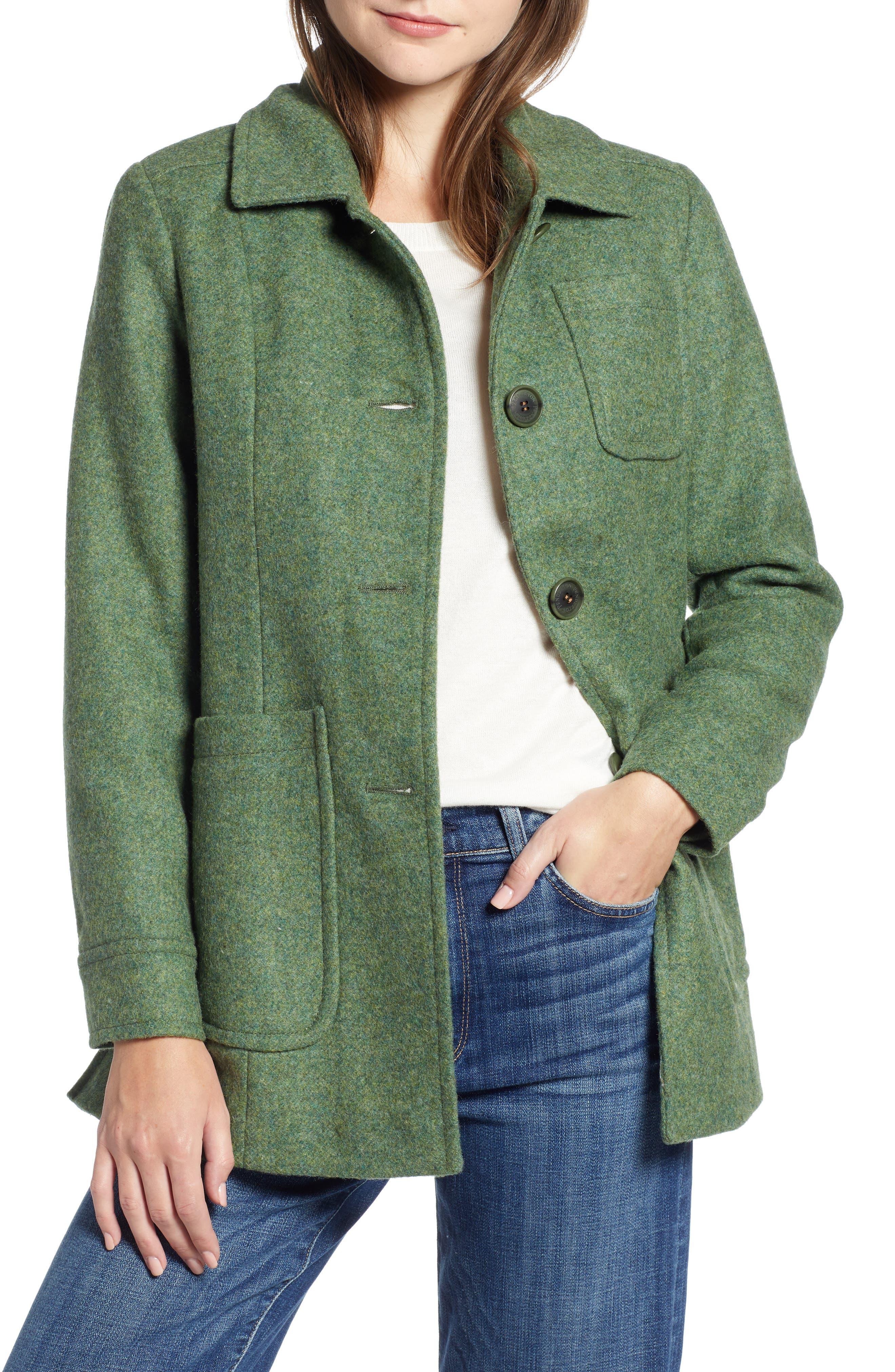1940s Style Coats and Jackets for Sale Womens Pendleton Casper Mel Wool Blend Barn Coat Size 16 - Green $345.00 AT vintagedancer.com
