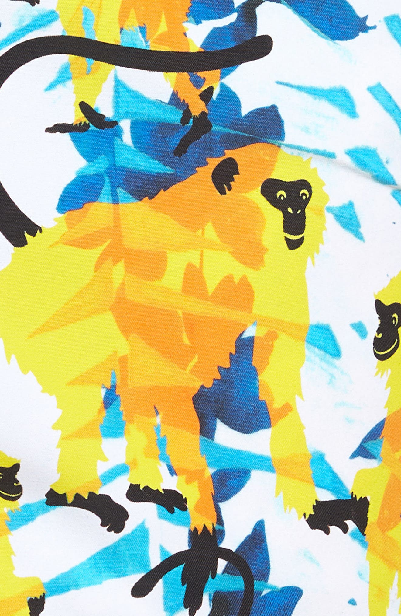 Happy Monkeys Print Swim Trunks,                             Alternate thumbnail 5, color,                             471