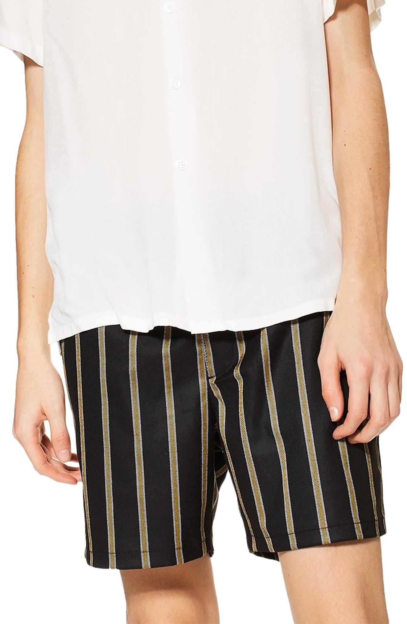Striped Swim Shorts,                             Main thumbnail 1, color,                             BLACK MULTI