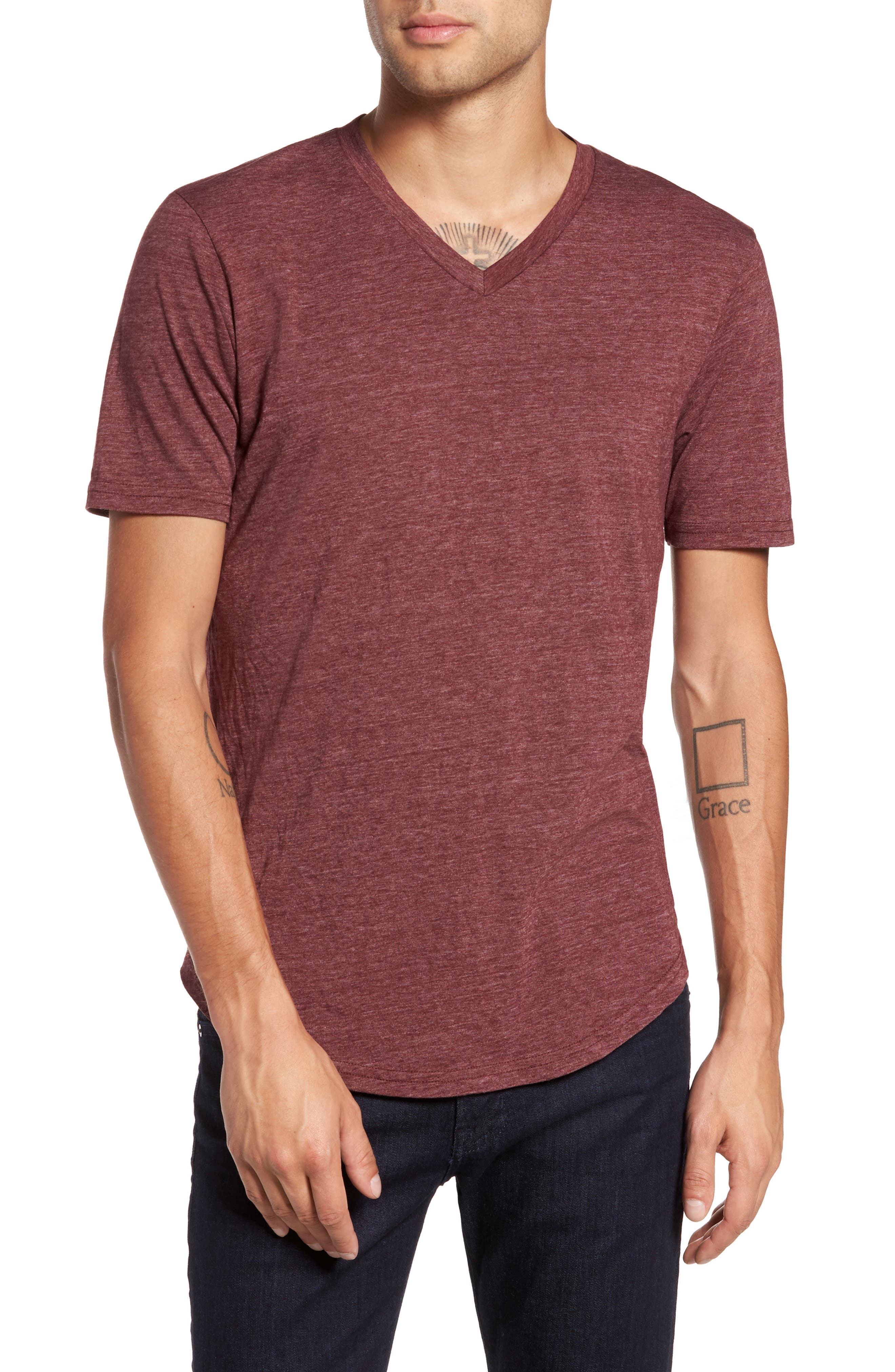 Scallop Triblend V-Neck T-Shirt,                             Main thumbnail 23, color,