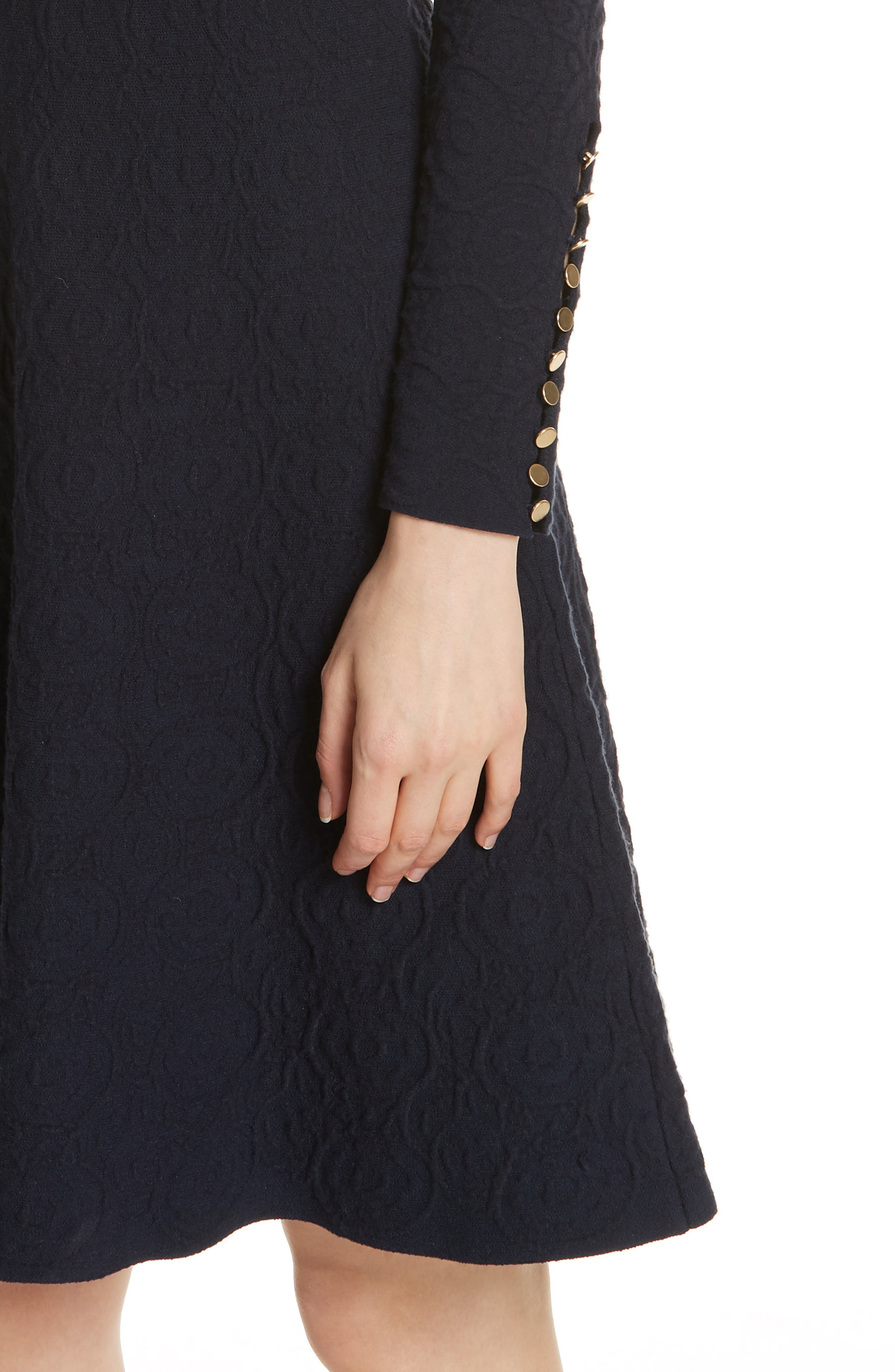 Textured Jacquard Knit Fit & Flare Dress,                             Alternate thumbnail 4, color,                             NAVY