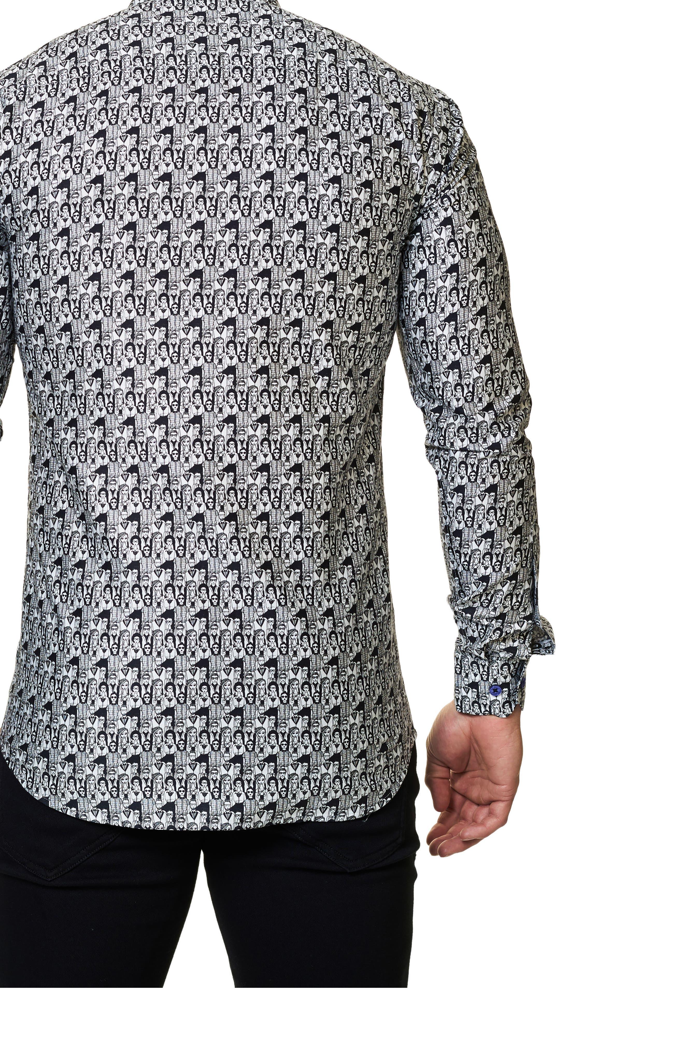 Graphic Trim Fit Sport Shirt,                             Alternate thumbnail 2, color,                             002