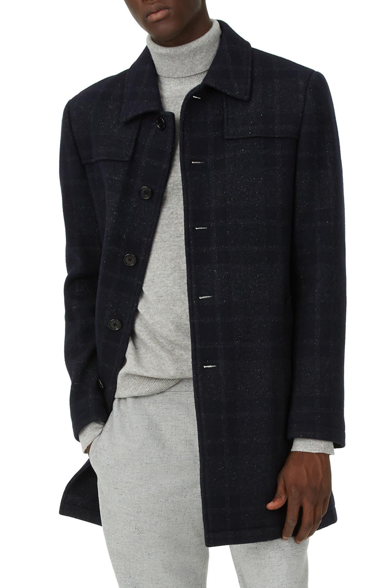 Luther Trim Fit Plaid Wool Blend Coat,                         Main,                         color, NAVY MULTI
