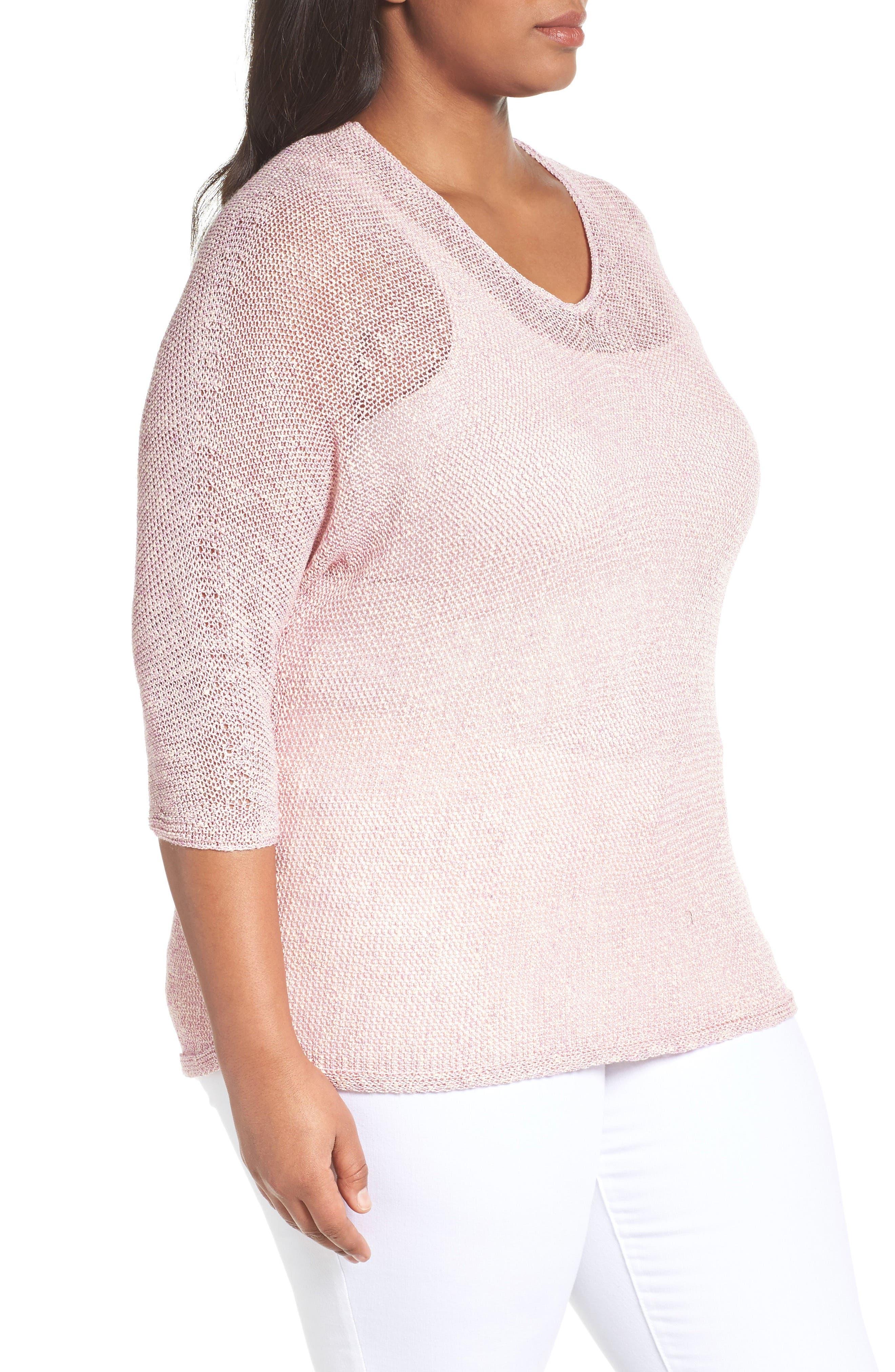 NIC+ZOE,                             Sunkissed Sheer Linen Blend Pullover,                             Alternate thumbnail 3, color,                             300