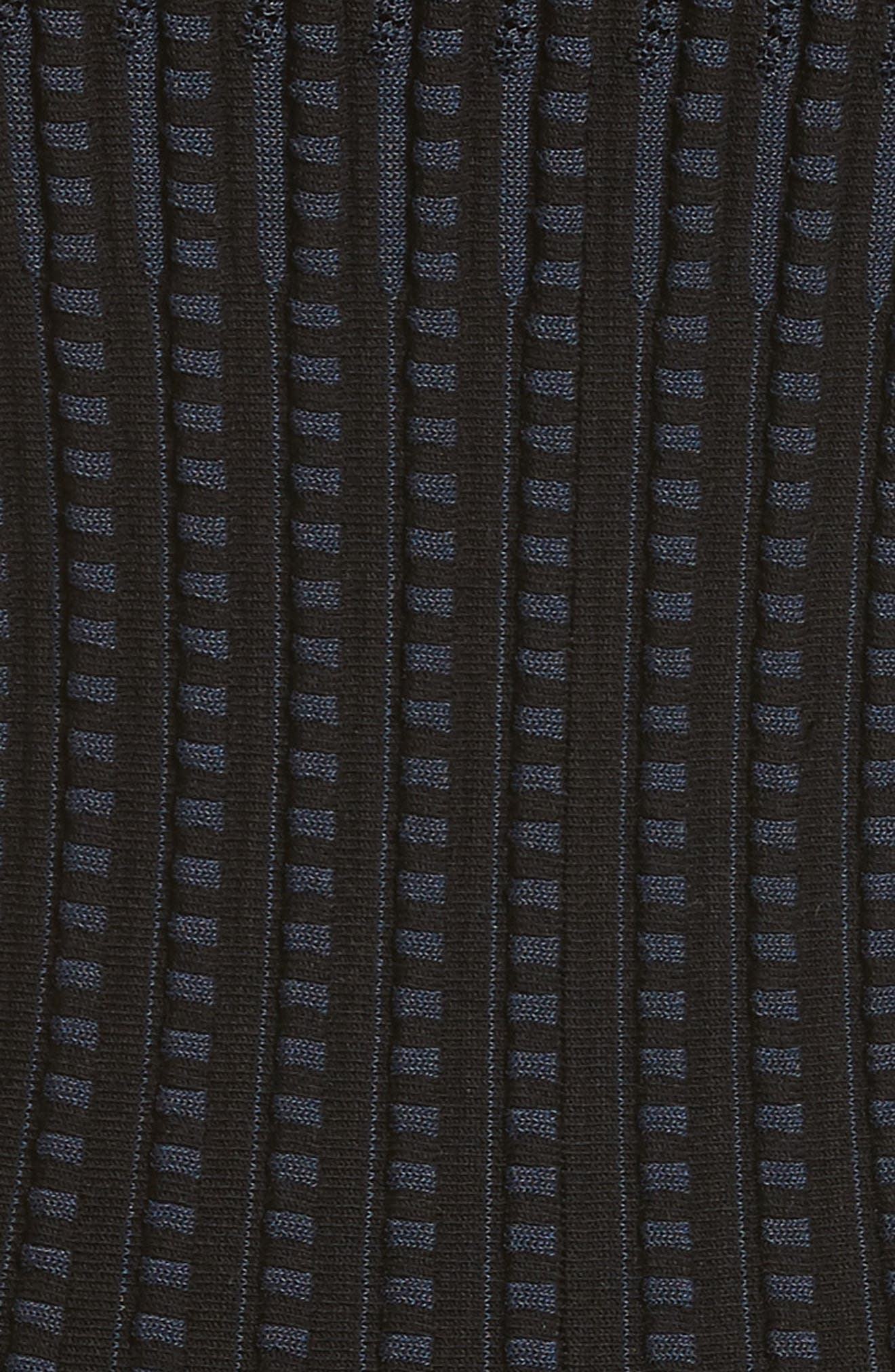 Check Knit Fit & Flare Dress,                             Alternate thumbnail 5, color,                             BLACK/ DEEP NAVY