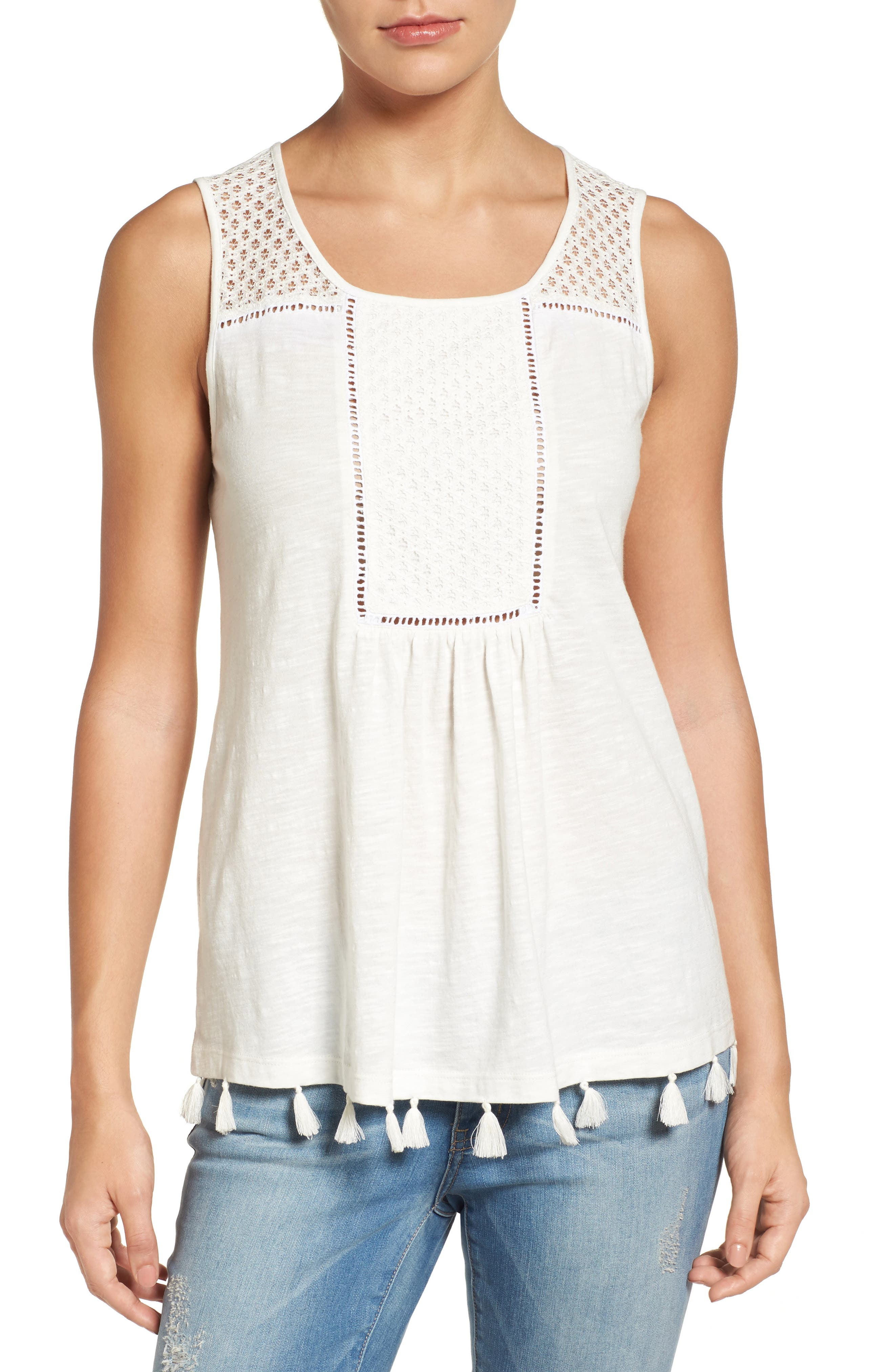 Tassel Trim Embroidered Tank,                             Main thumbnail 6, color,