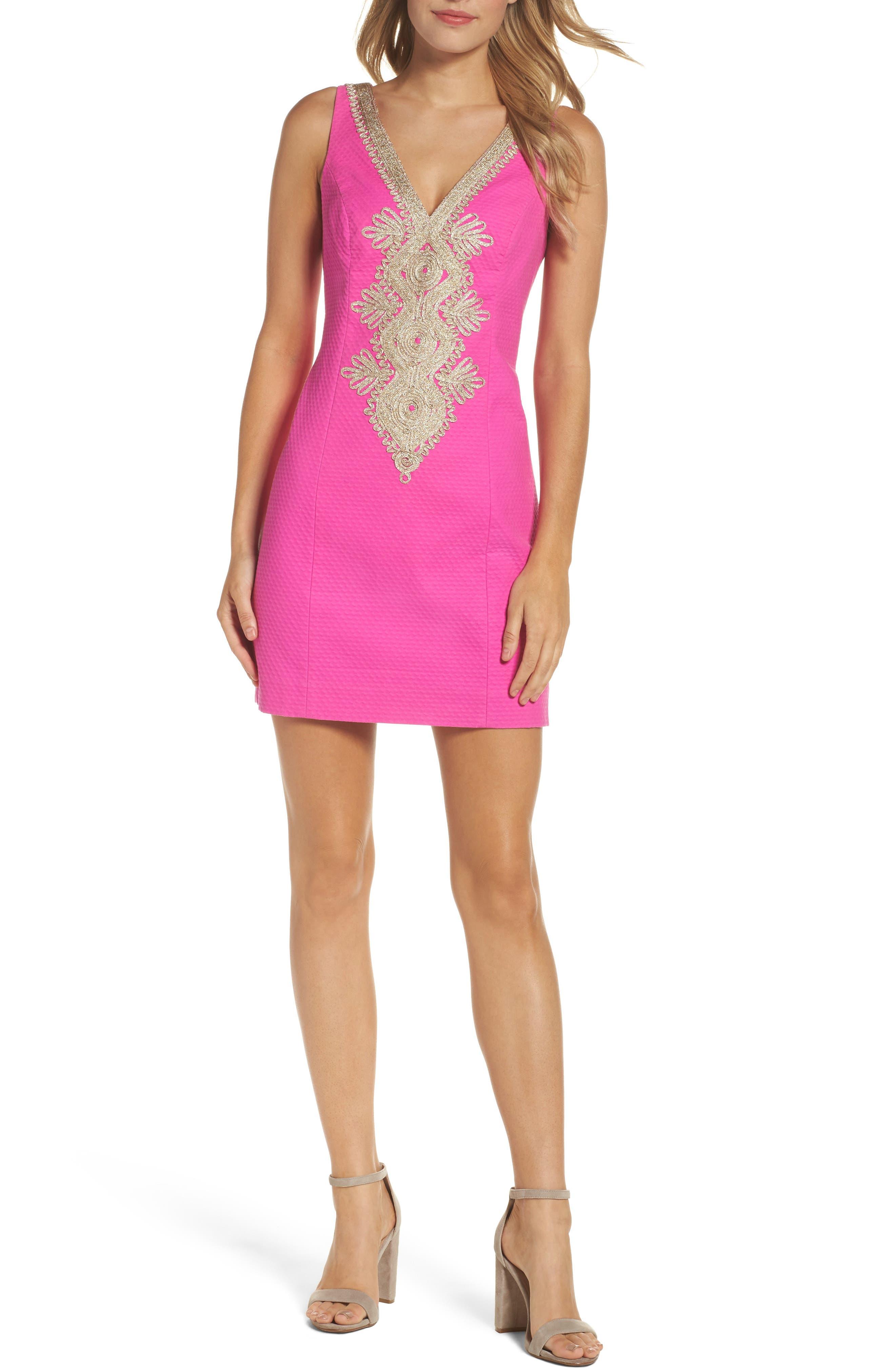 Junie Embroidered Sheath Dress,                             Main thumbnail 1, color,                             500