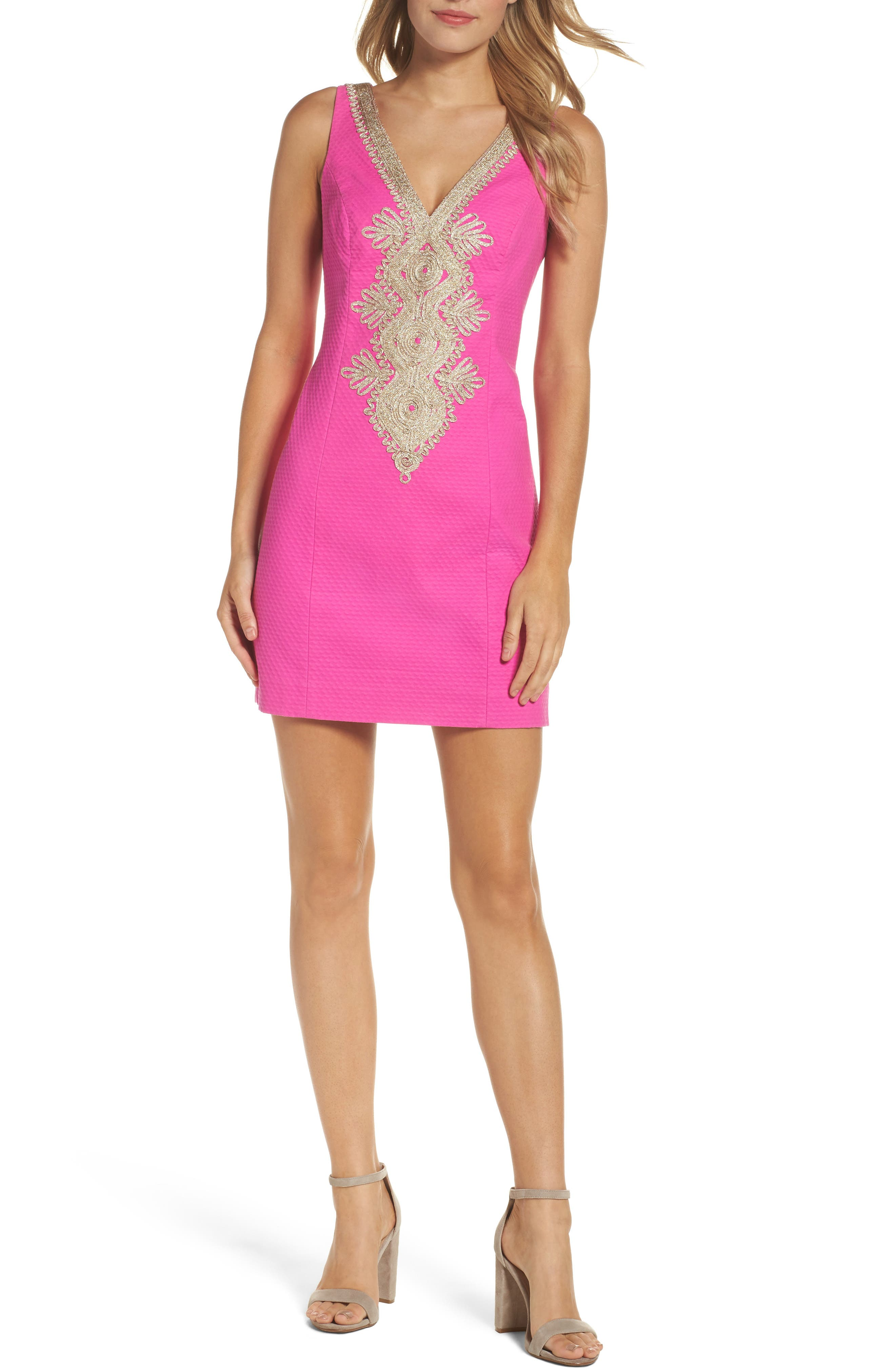 Junie Embroidered Sheath Dress,                         Main,                         color, 500