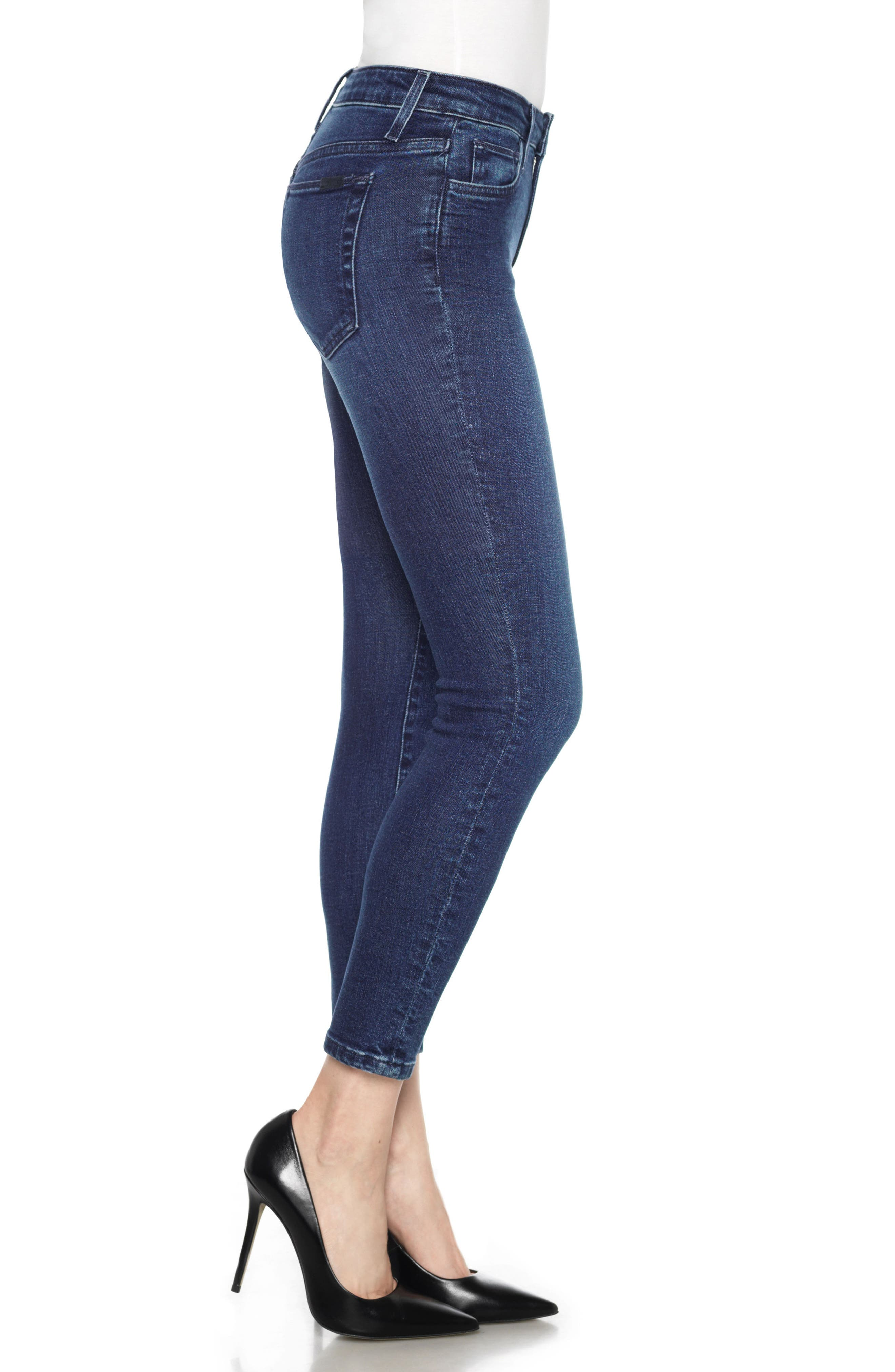 Icon High Waist Crop Skinny Jeans,                             Alternate thumbnail 3, color,                             400