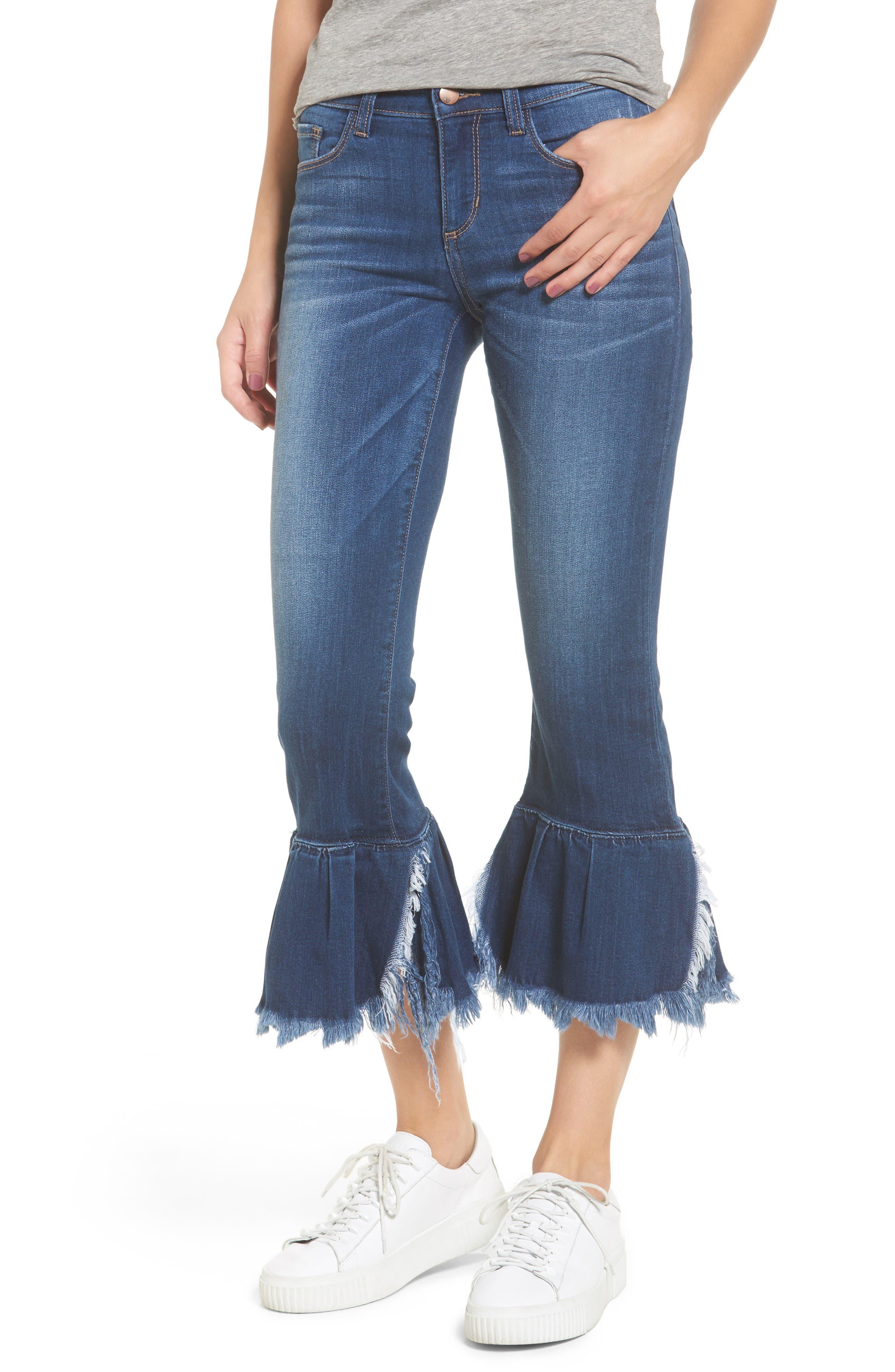 Ruffle Hem Jeans,                         Main,                         color, 400