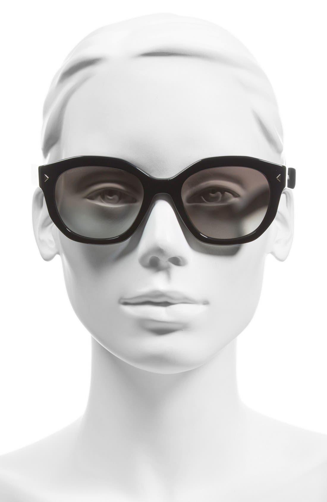 Contrast Temple 53mm Sunglasses,                             Alternate thumbnail 2, color,                             001
