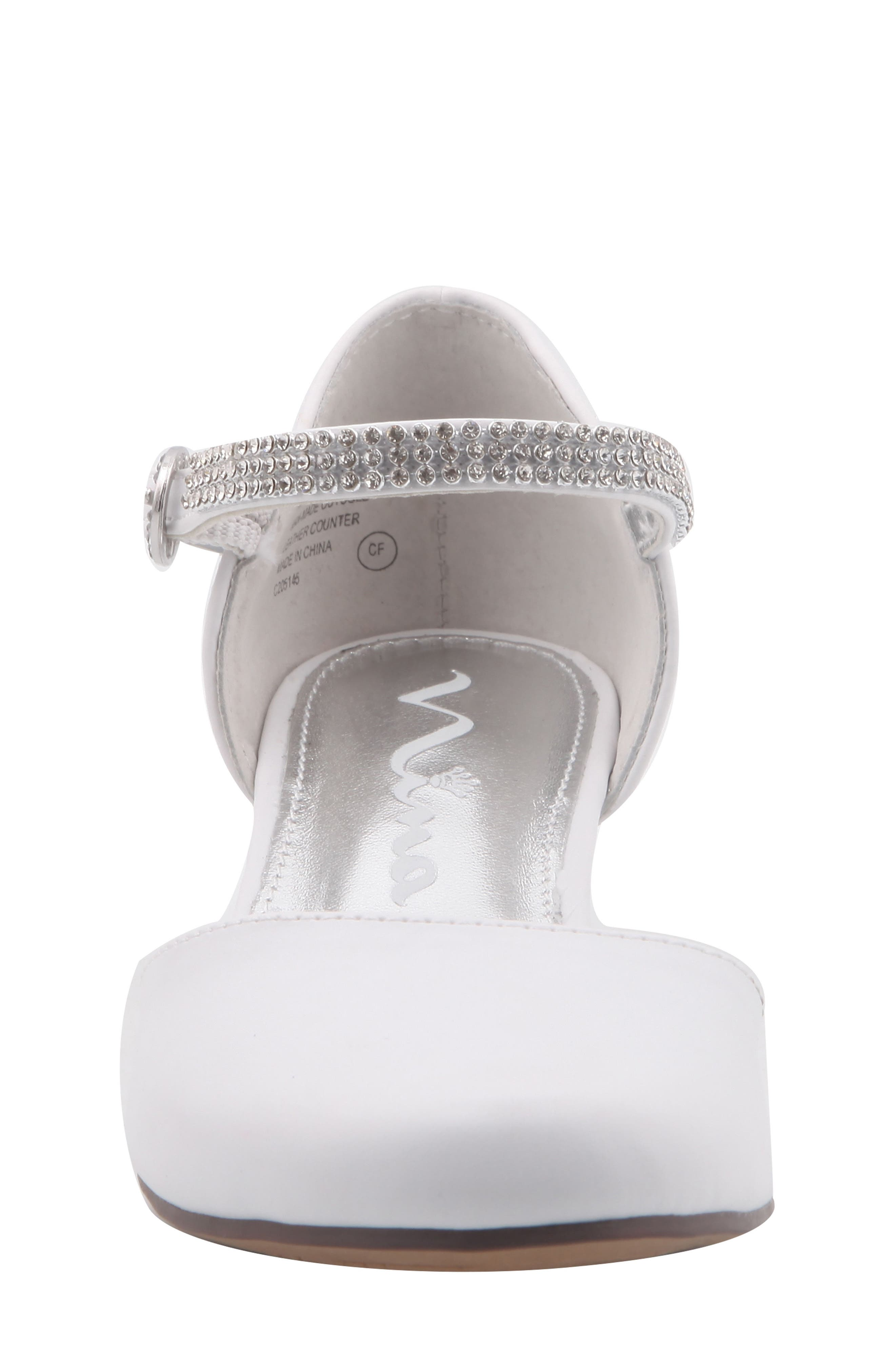 Cera Low Embellished Pump,                             Alternate thumbnail 4, color,                             WHITE SMOOTH
