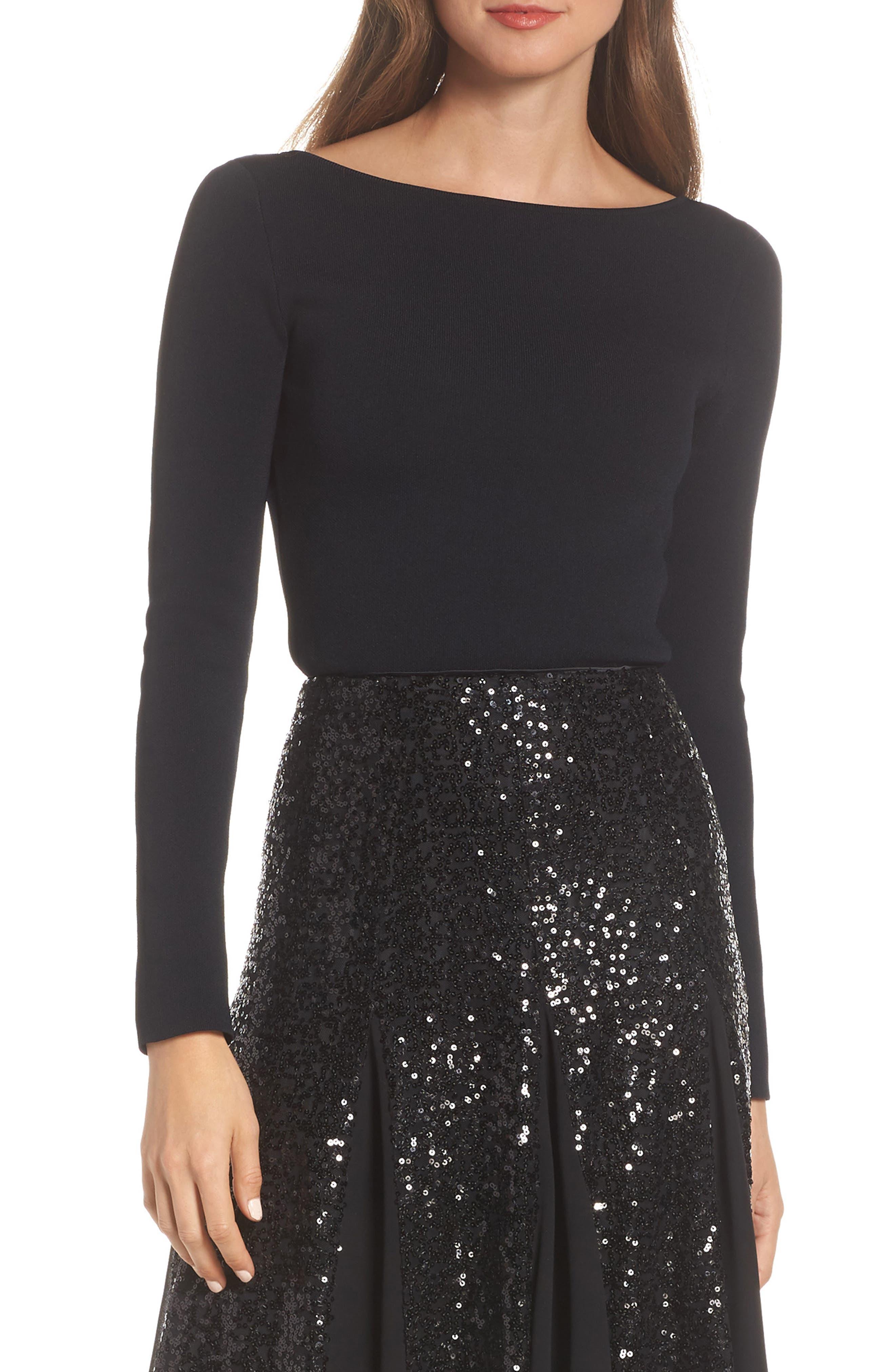 Eliza J Bow Back Sweater, Black