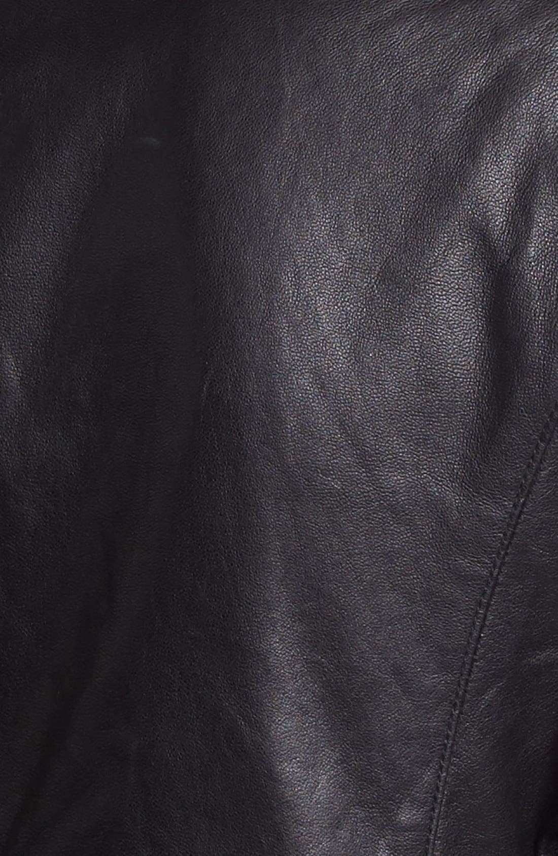 Crop Leather Moto Jacket,                             Alternate thumbnail 3, color,                             001