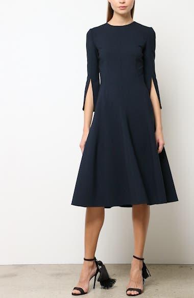 6e54289154 Oscar de la Renta Split Sleeve Stretch Wool Fit   Flare Dress ...