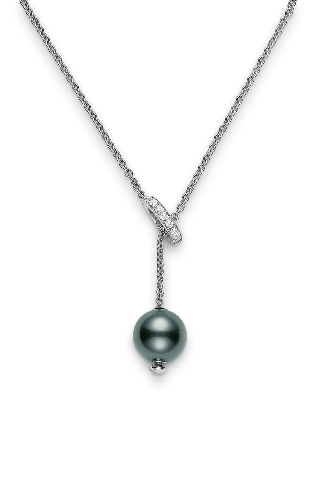 'Pearls in Motion' Black South Sea Cultured Pearl & Diamond Necklace,                             Main thumbnail 1, color,                             BLACK SOUTH SEA PEARL