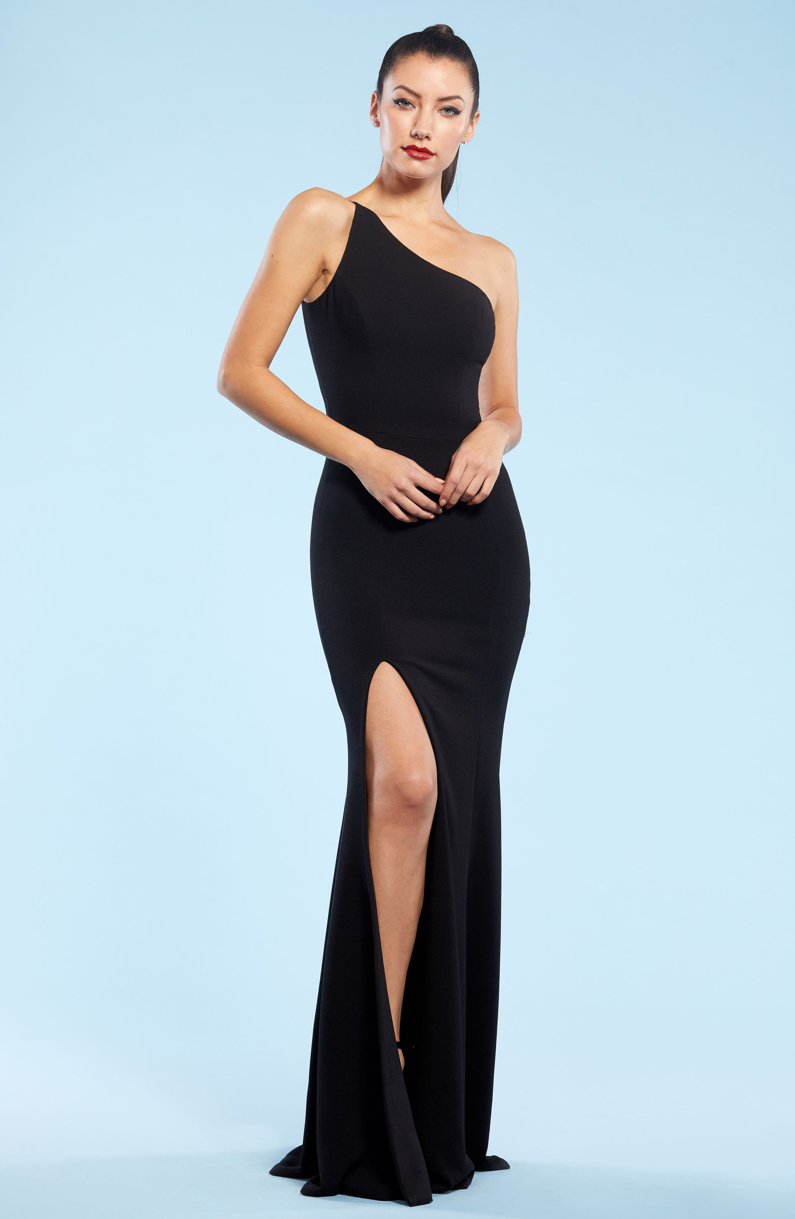 DRESS THE POPULATION,                             Amy One-Shoulder Crepe Gown,                             Alternate thumbnail 6, color,                             001