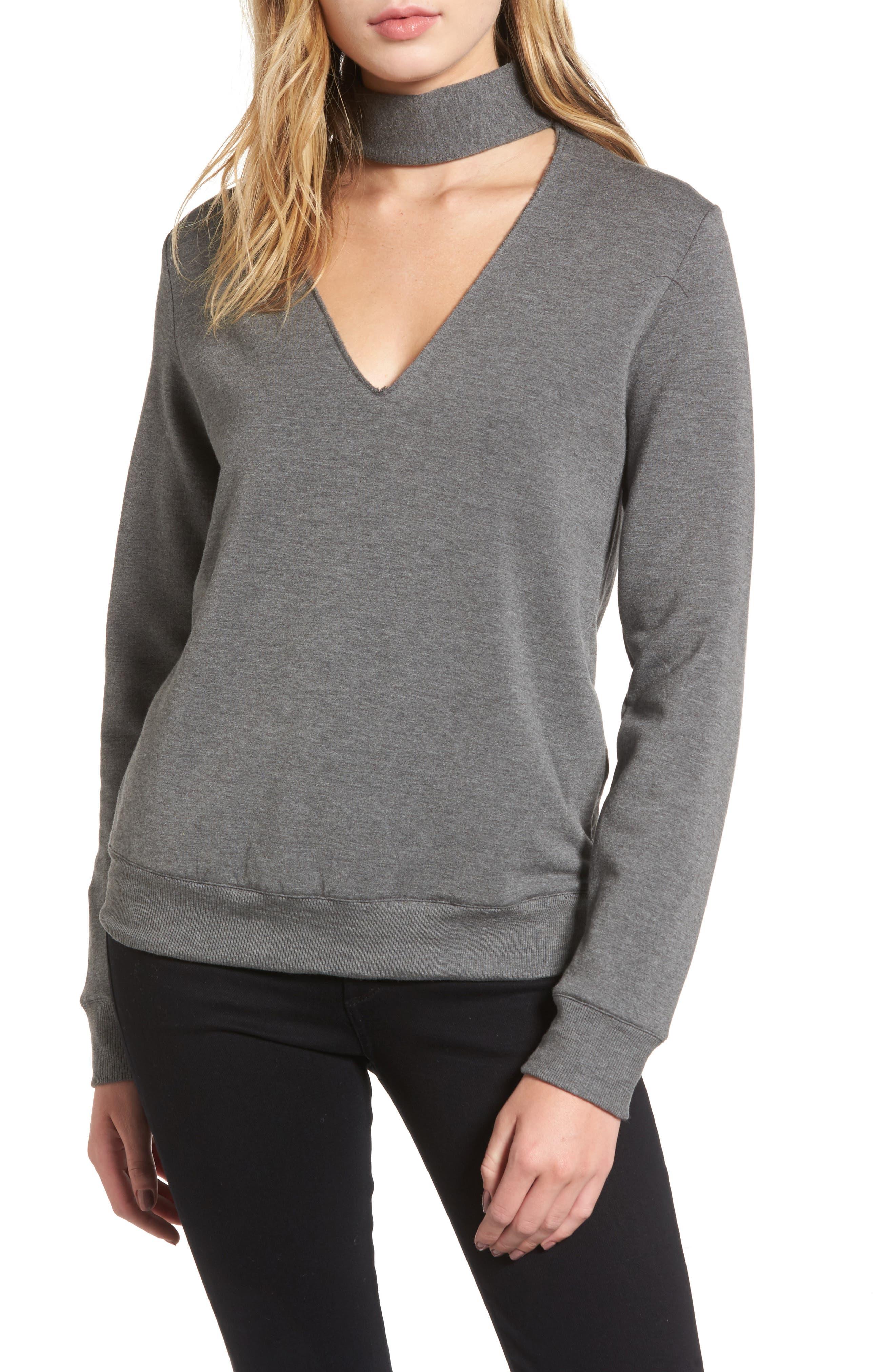 Eye Splice Choker Sweatshirt,                             Main thumbnail 2, color,