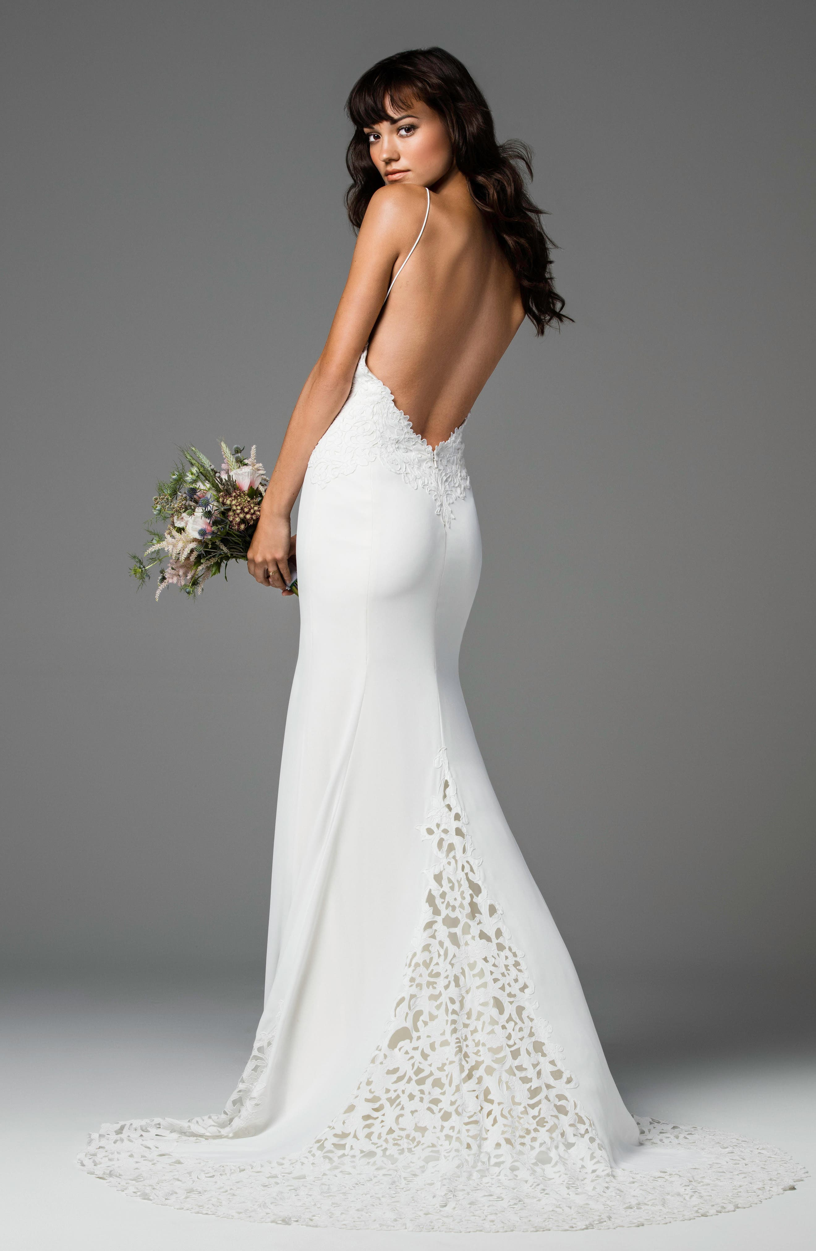 Ridley Backless Laser Cut Lace & Georgette Gown,                             Alternate thumbnail 2, color,                             IVORY/IVORY