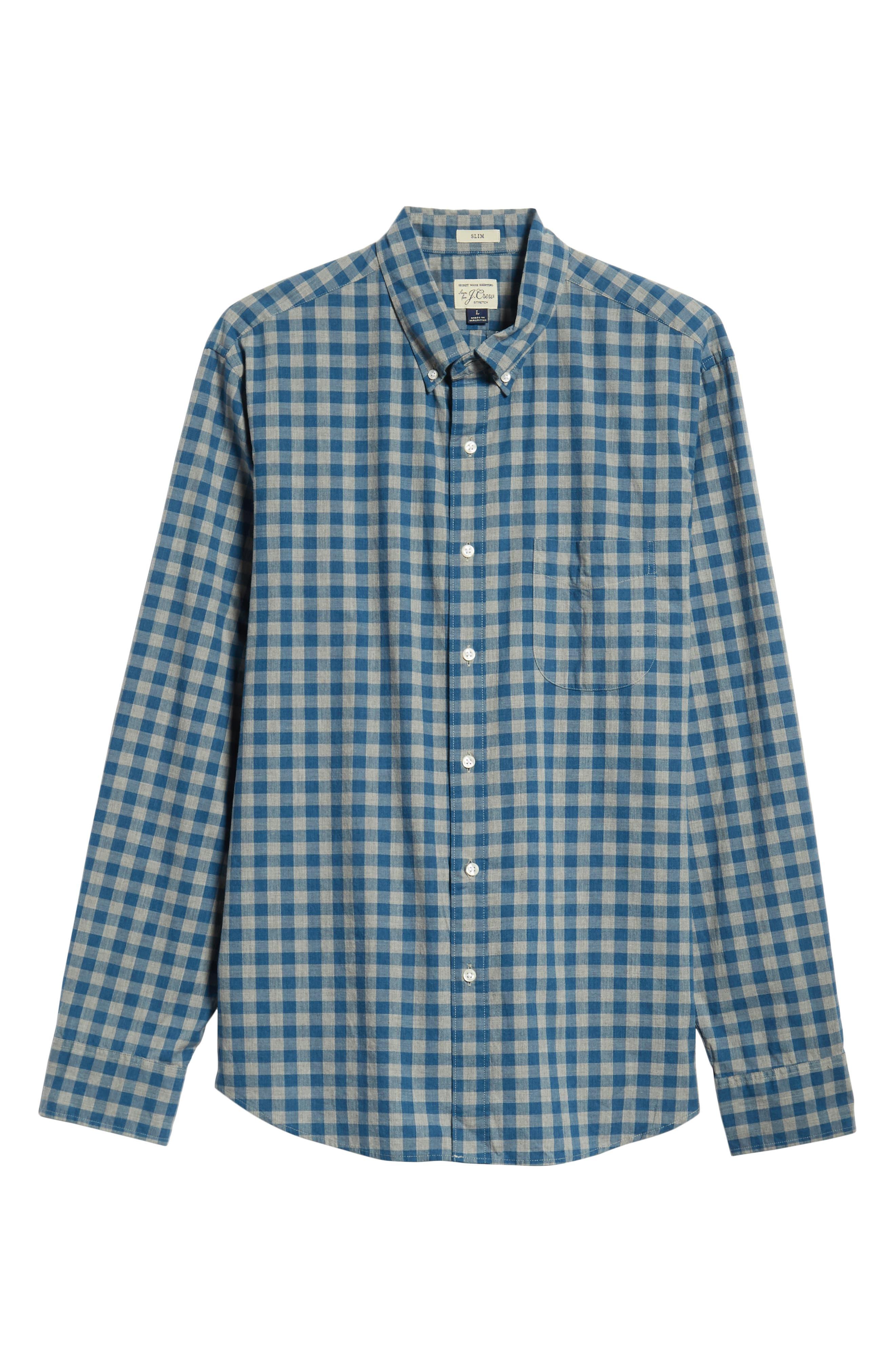 Slim Fit Stretch Secret Wash Heather Gingham Poplin Shirt,                             Alternate thumbnail 11, color,