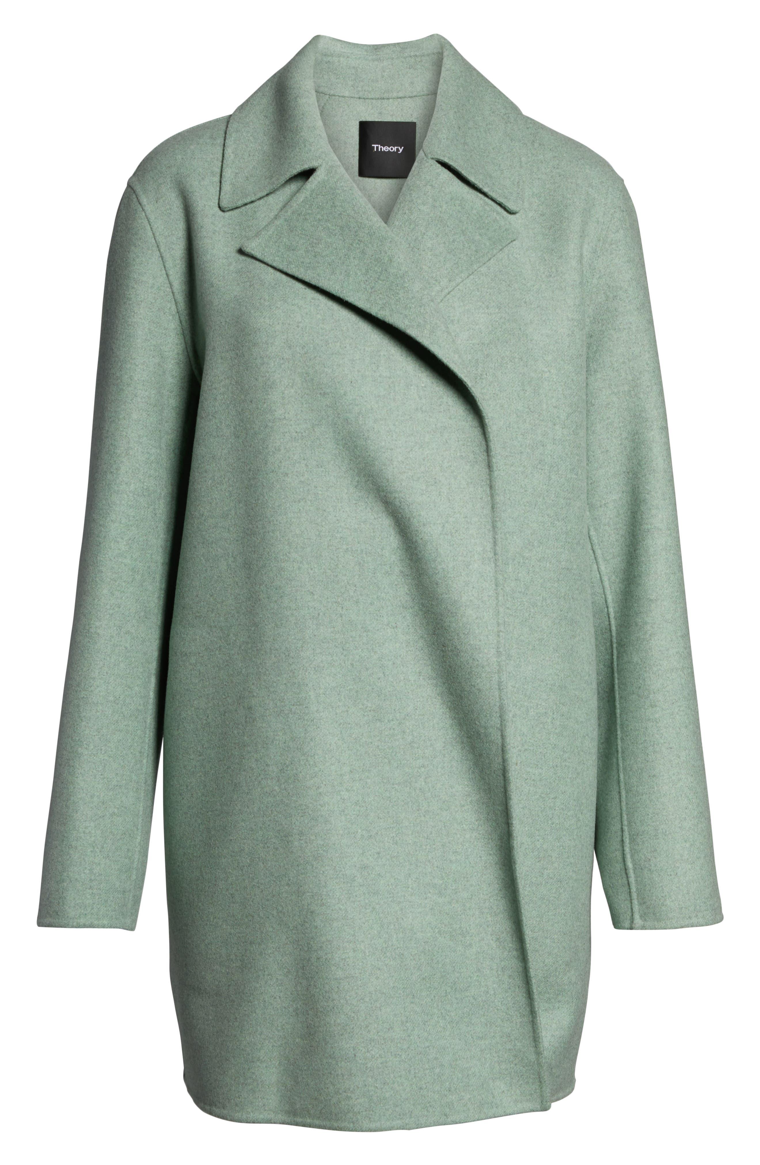 THEORY,                             Double Face Mélange Coat,                             Alternate thumbnail 4, color,                             OPAL GREEN MELANGE