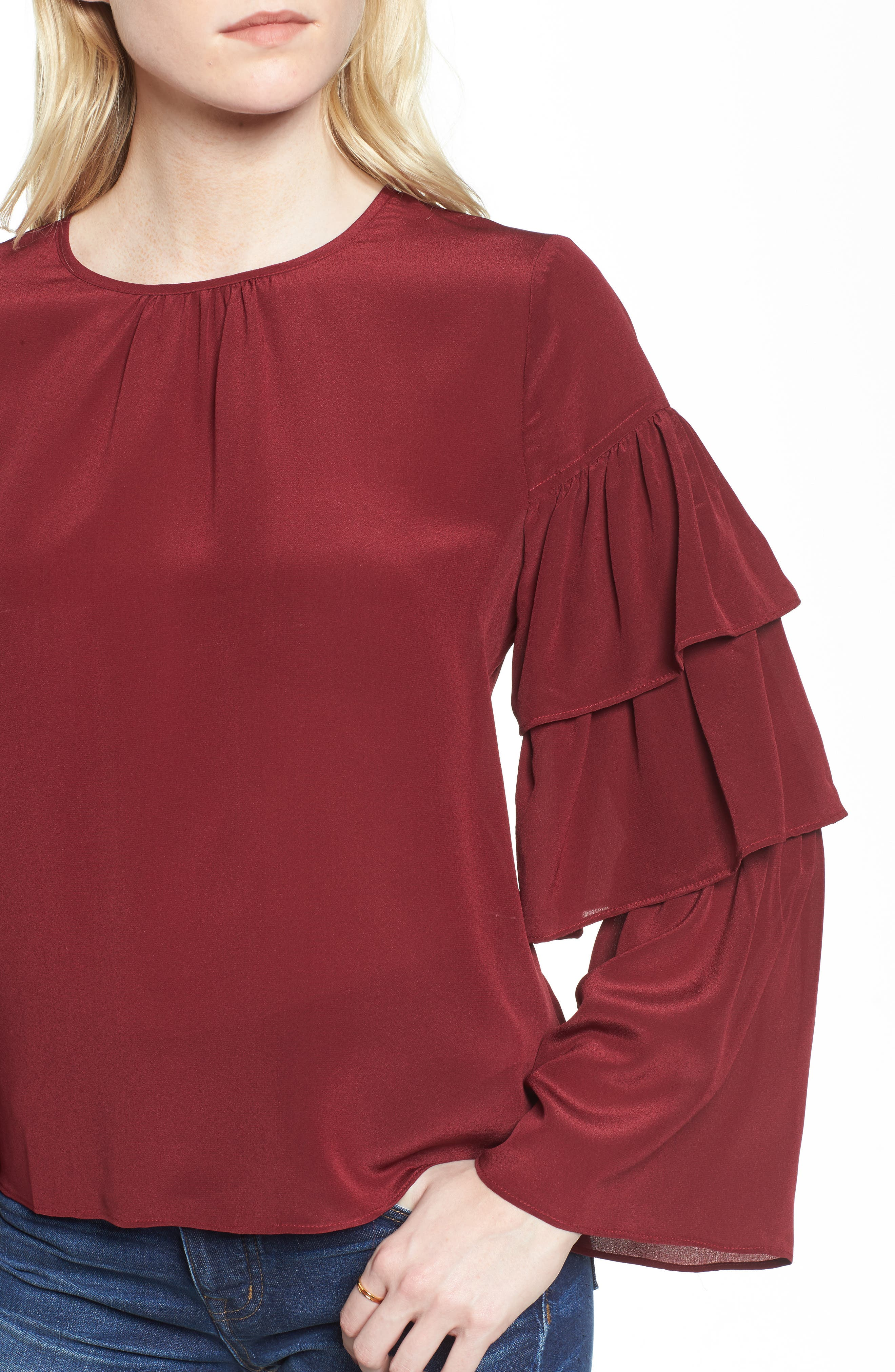 Ruffle Sleeve Silk Top,                             Alternate thumbnail 4, color,                             930
